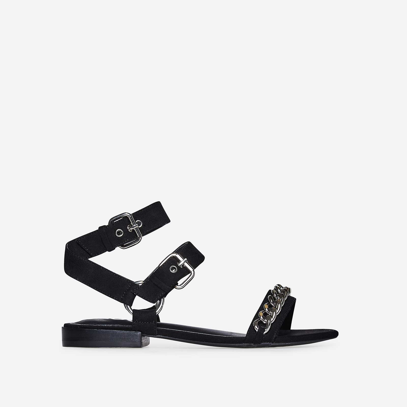 Alana Silver Chain Detail Sandal In Black Faux Suede