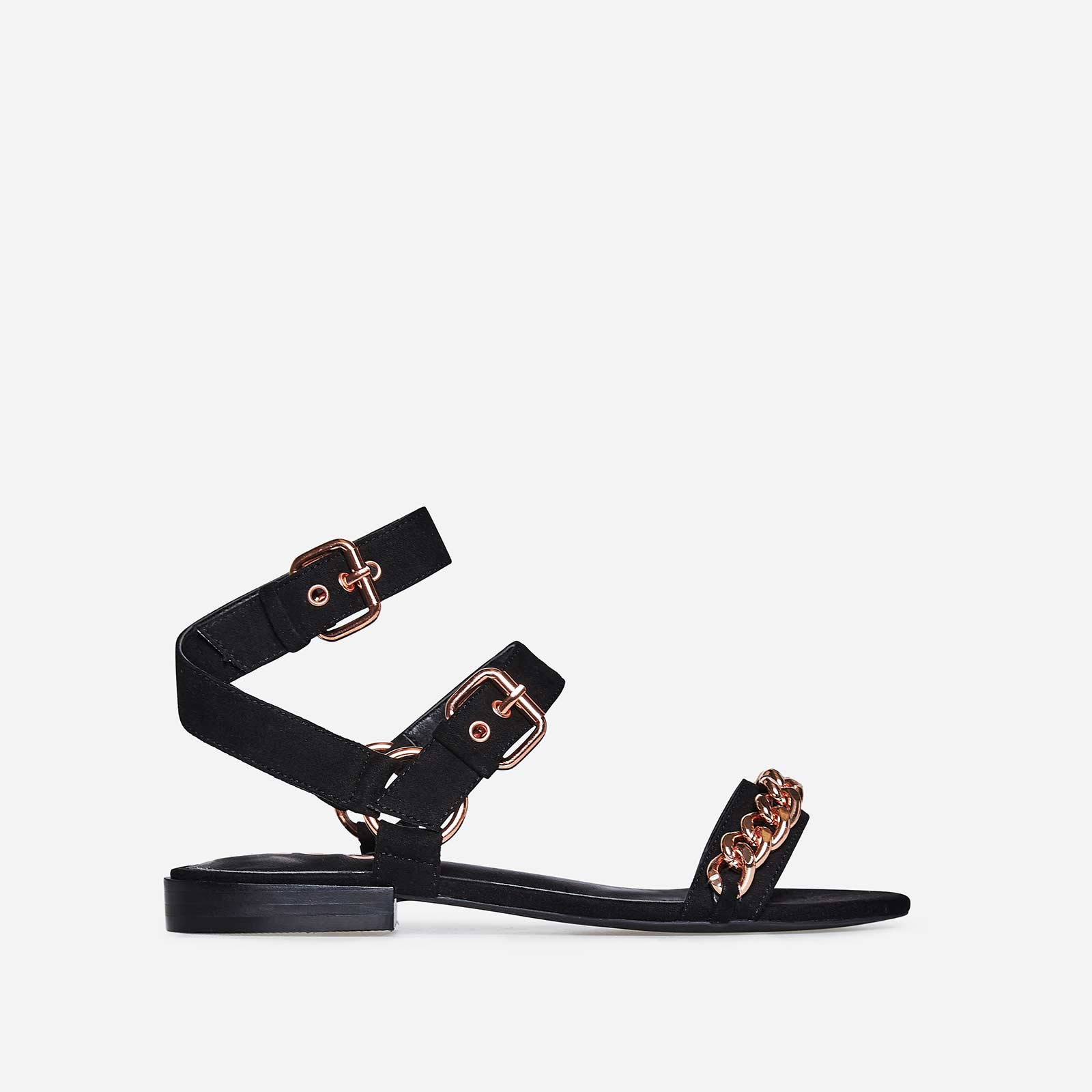Alana Rose Gold Chain Detail Sandal In Black Faux Suede
