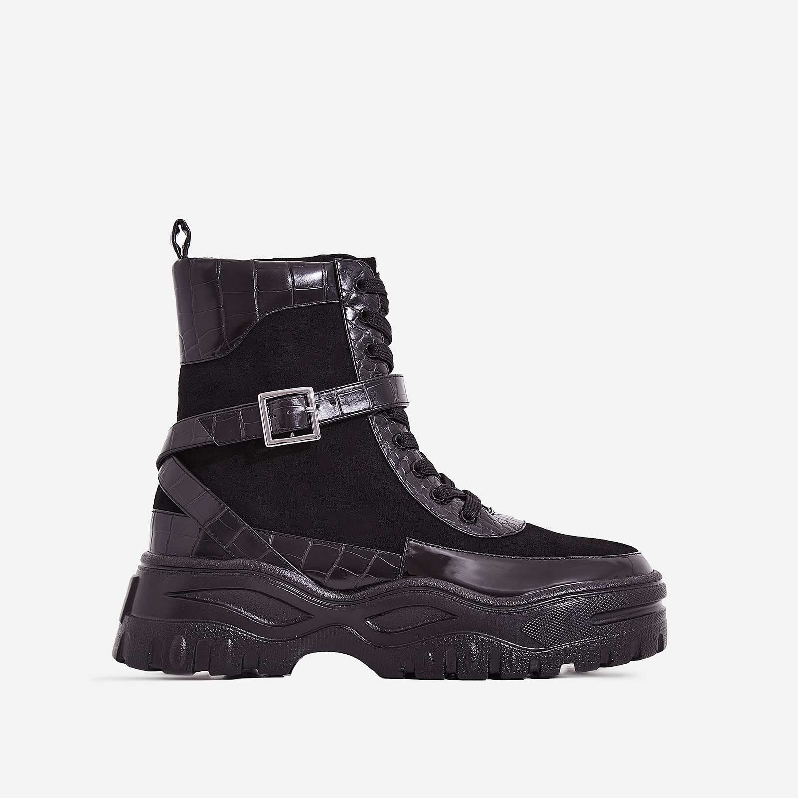 Aleena Chunky Sole Lace Up Ankle Boot In Black