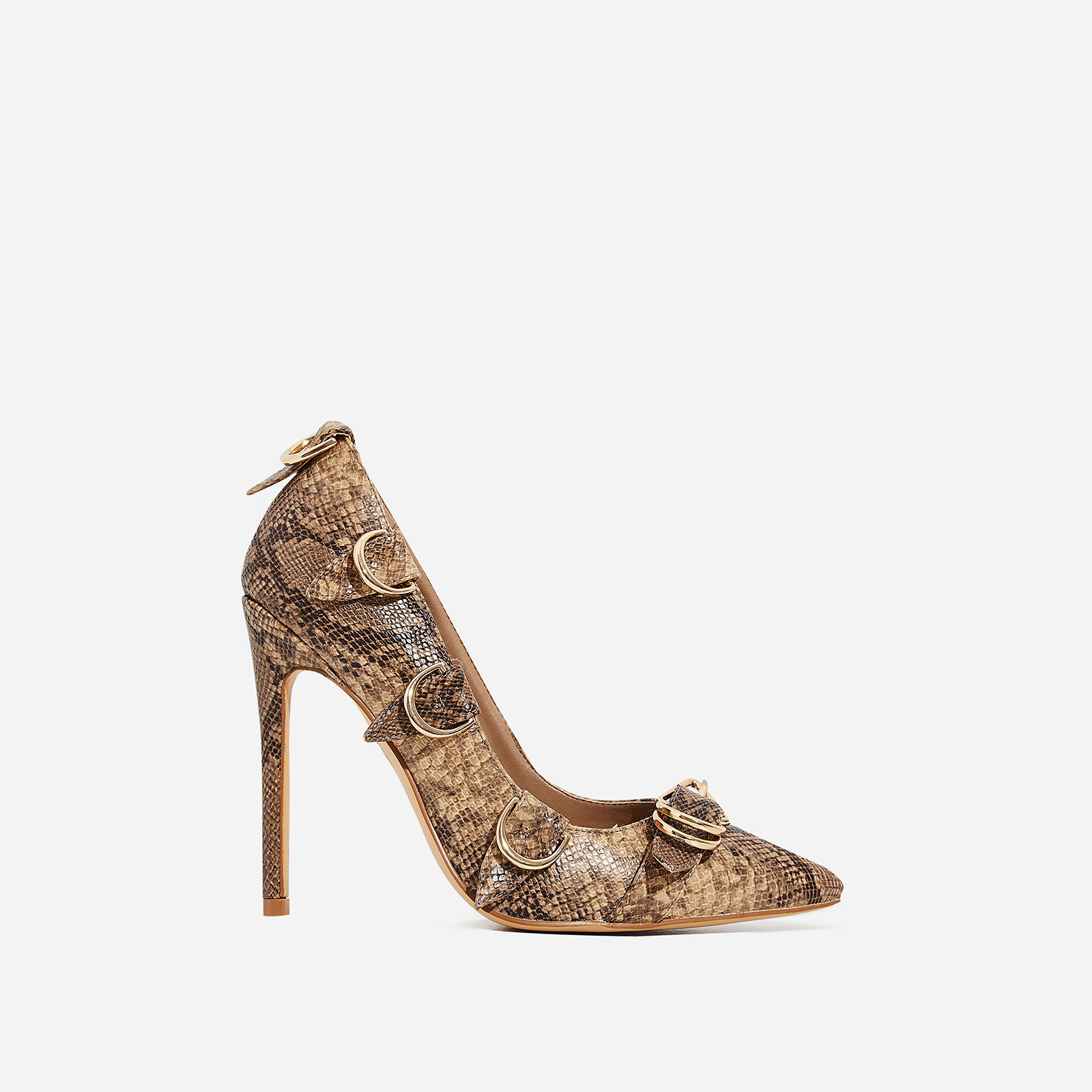 Aleko Buckle Detail Court Heel In Nude Snake Print Faux Leather