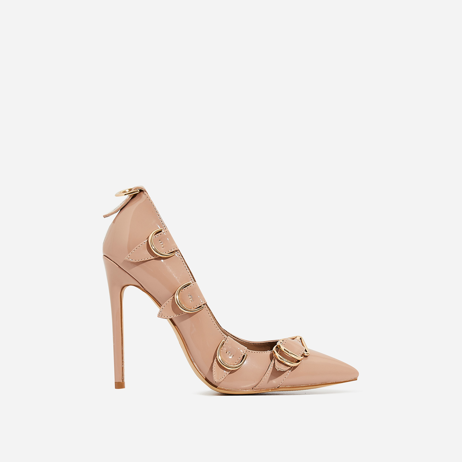 Aleko Buckle Detail Court Heel In Nude Patent