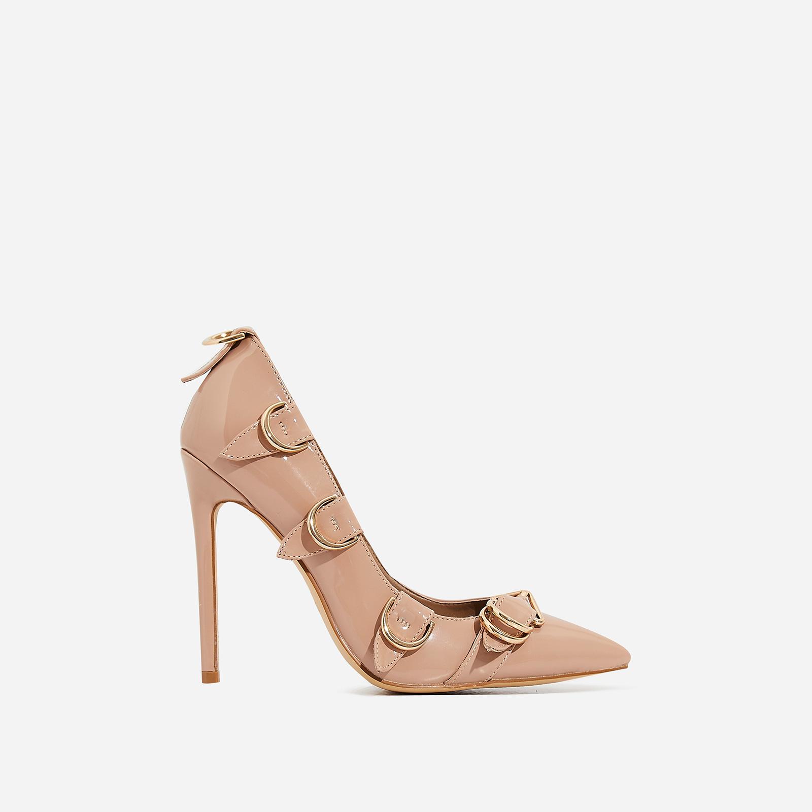 fe55edc577f5 Aleko Buckle Detail Court Heel In Nude Patent