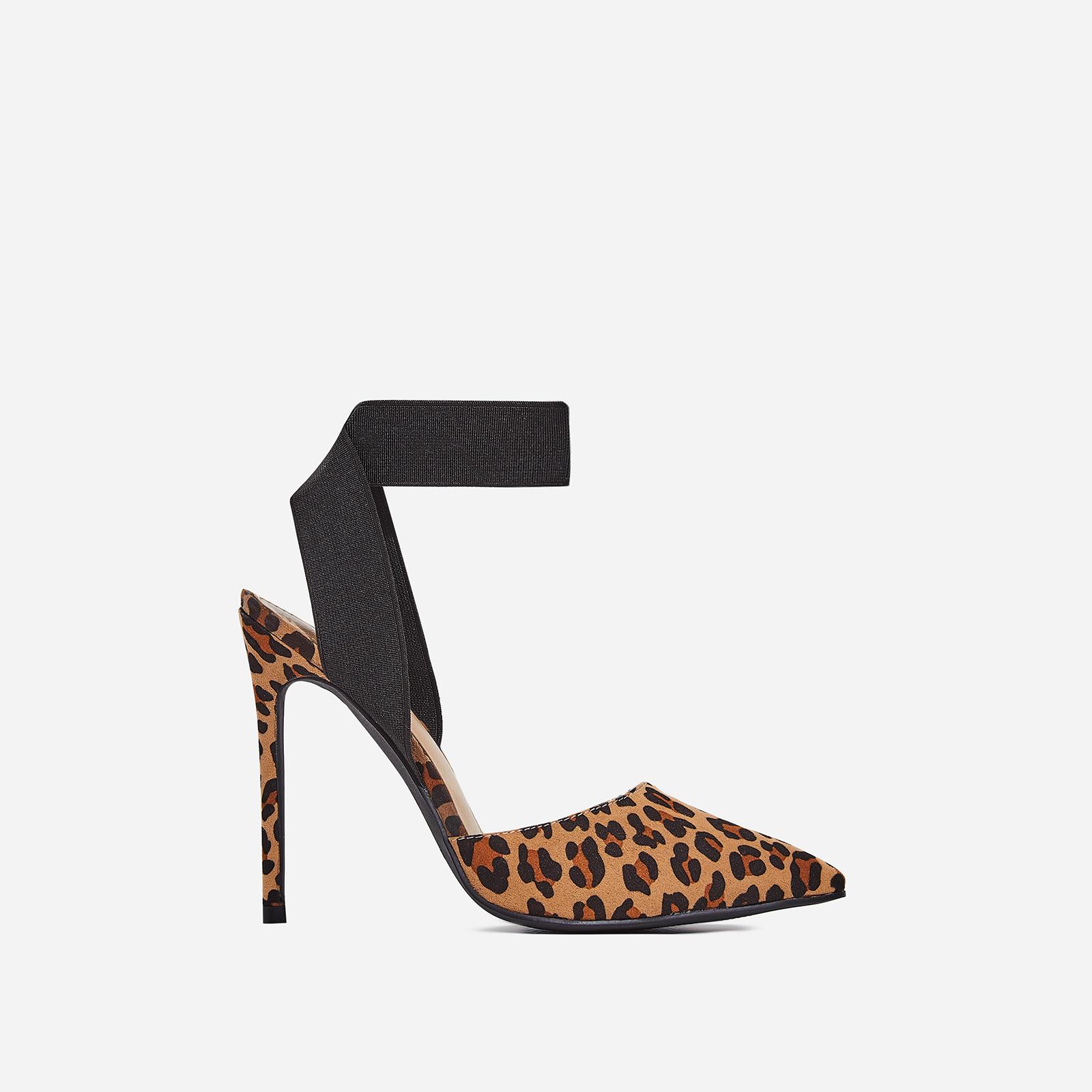 Alina Elasticated Court Heel In Tan Leopard Print Faux Suede