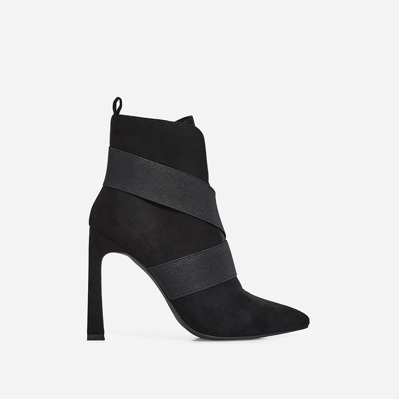 Alison Elasticated Cross Over Ankle Boot In Black Faux Suede