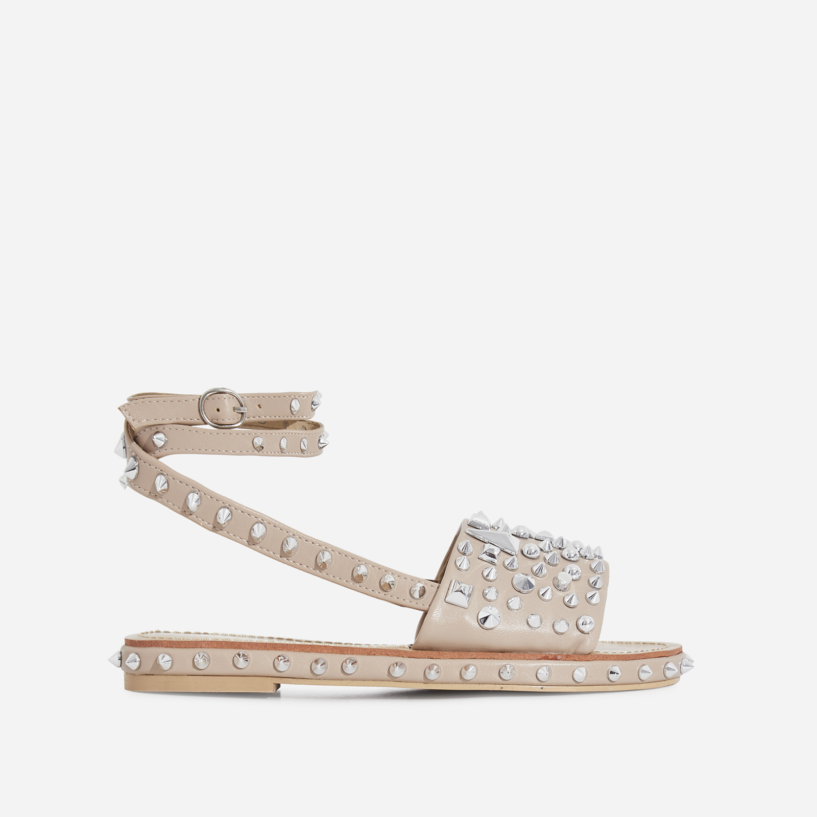 Alpha Lace Up Studded Detail Sandal In Nude Faux Leather