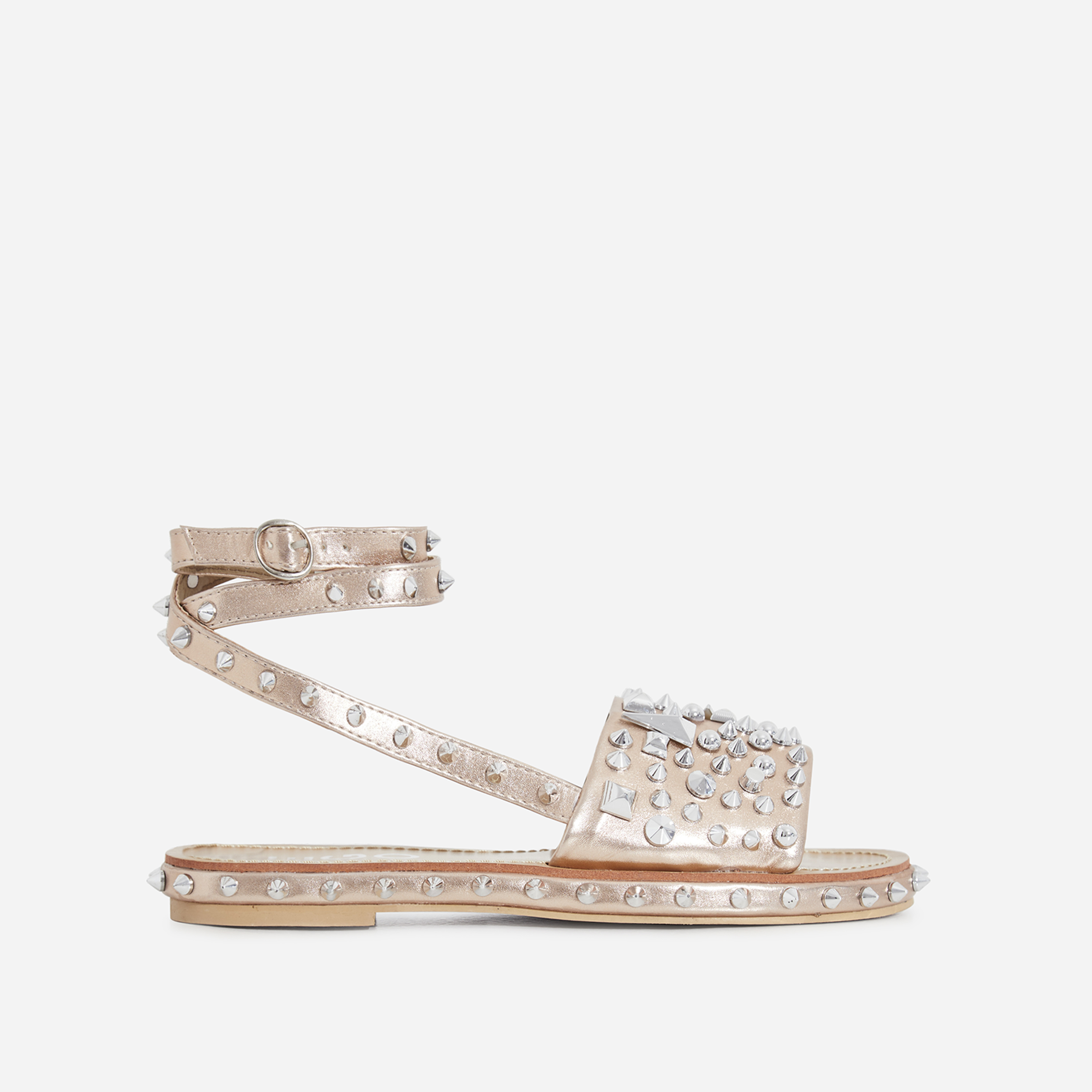 Alpha Lace Up Studded Detail Sandal In Gold Faux Leather