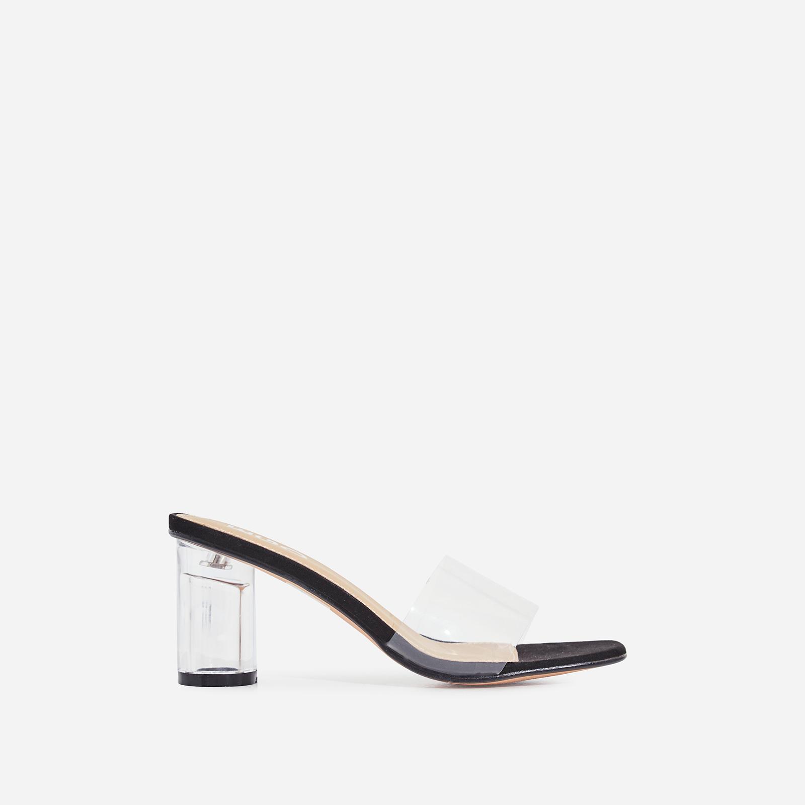 Alva Perspex Square Peep Toe Midi Block Heel Mule In Black Faux Suede