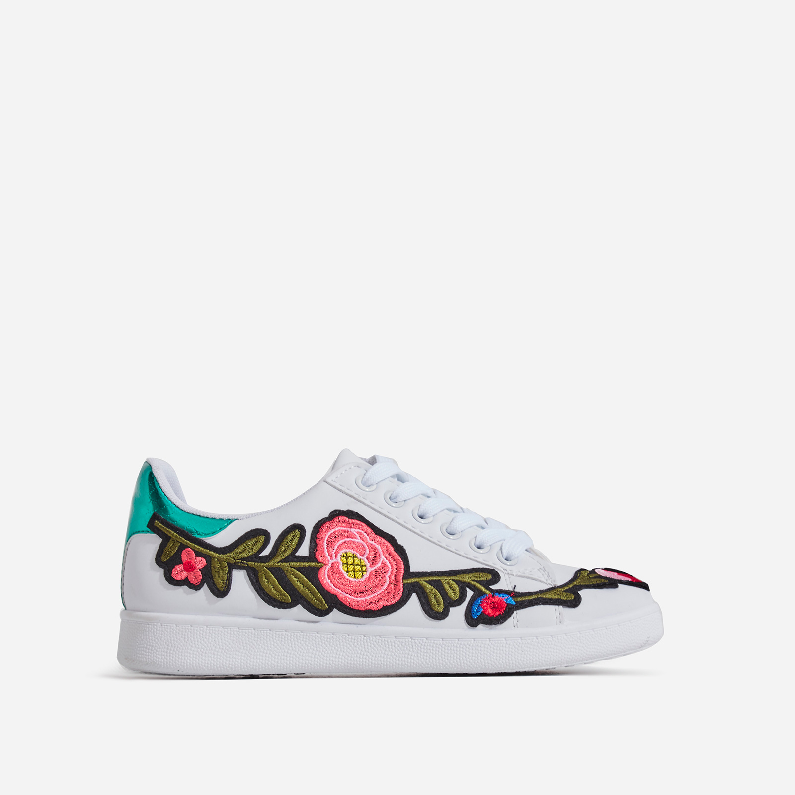 Hailey Floral Detail Train In White Faux Leather