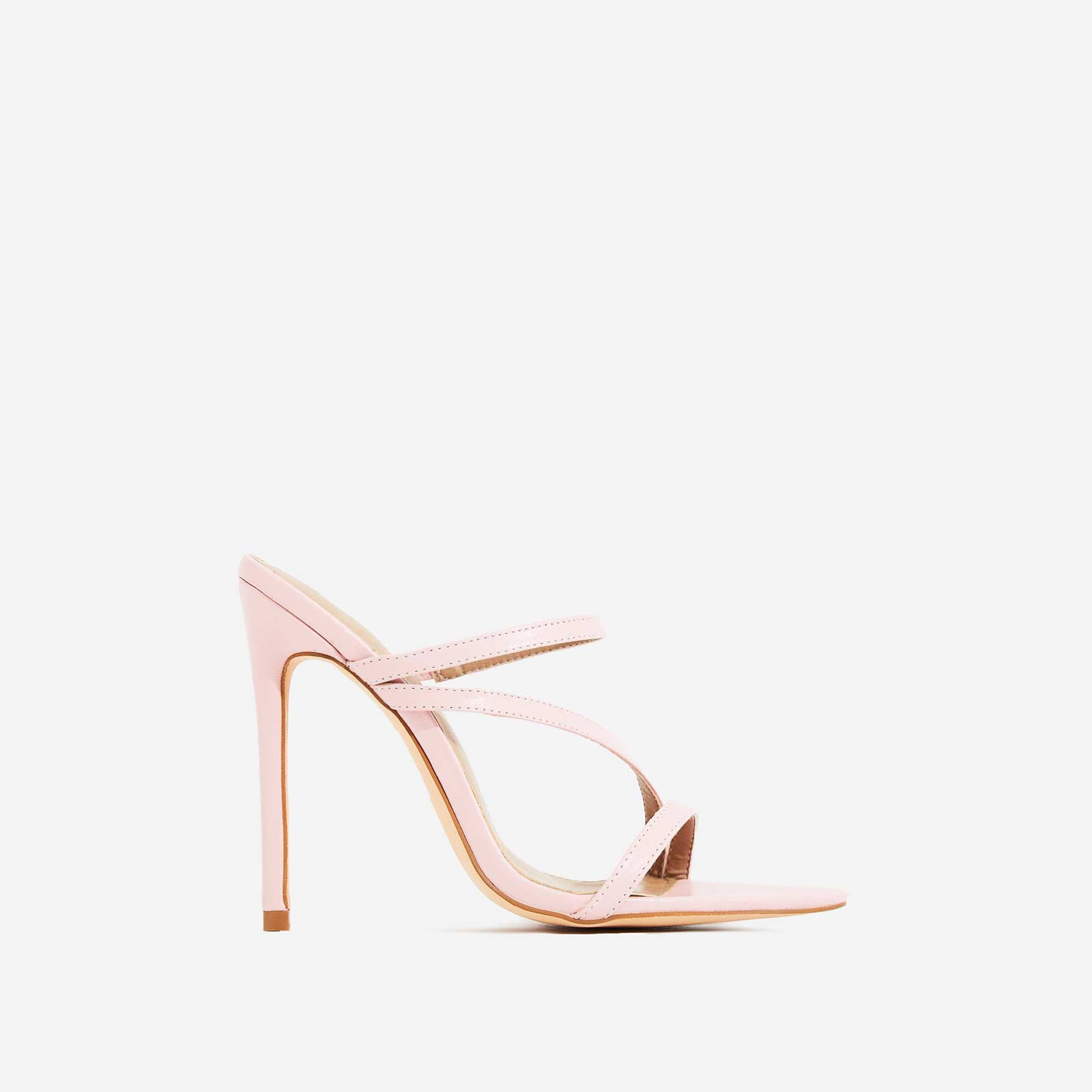 Aria Toe Strap Heel Mule In Light Pink Faux Leather