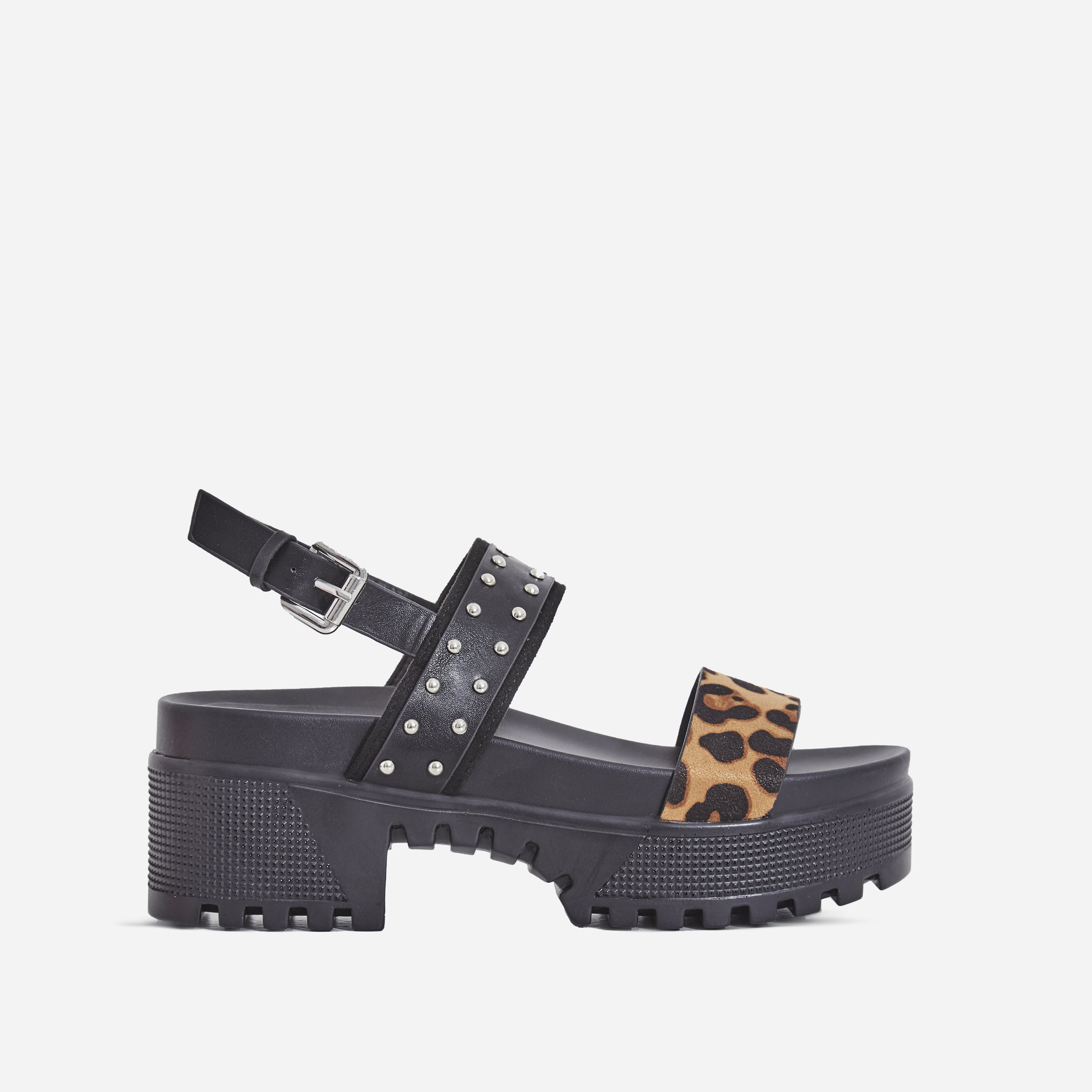 Ariel Leopard Print Studded Detail Chunky Sole Sandal In Black Faux Leather