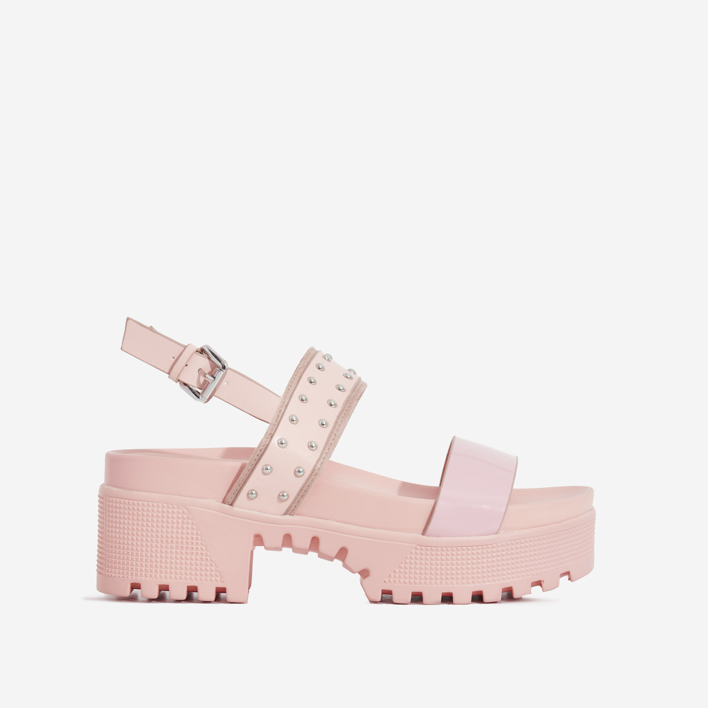 Ariel Patent Studded Detail Chunky Sole Sandal In Pink Faux Leather