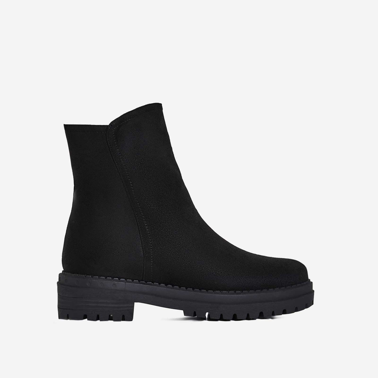 Asher Chunky Sole Ankle Biker Boot In Black Faux Suede