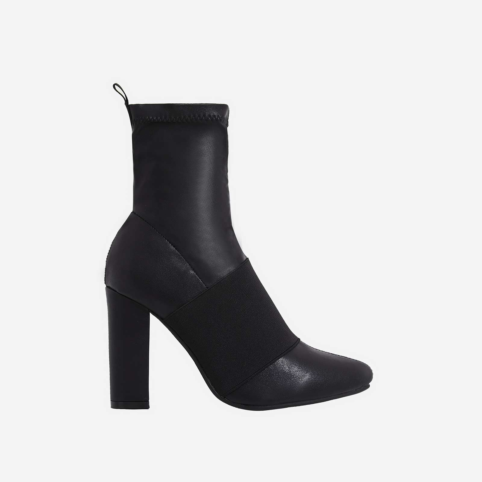 Marian Ankle Sock Boot In Black Faux Leather