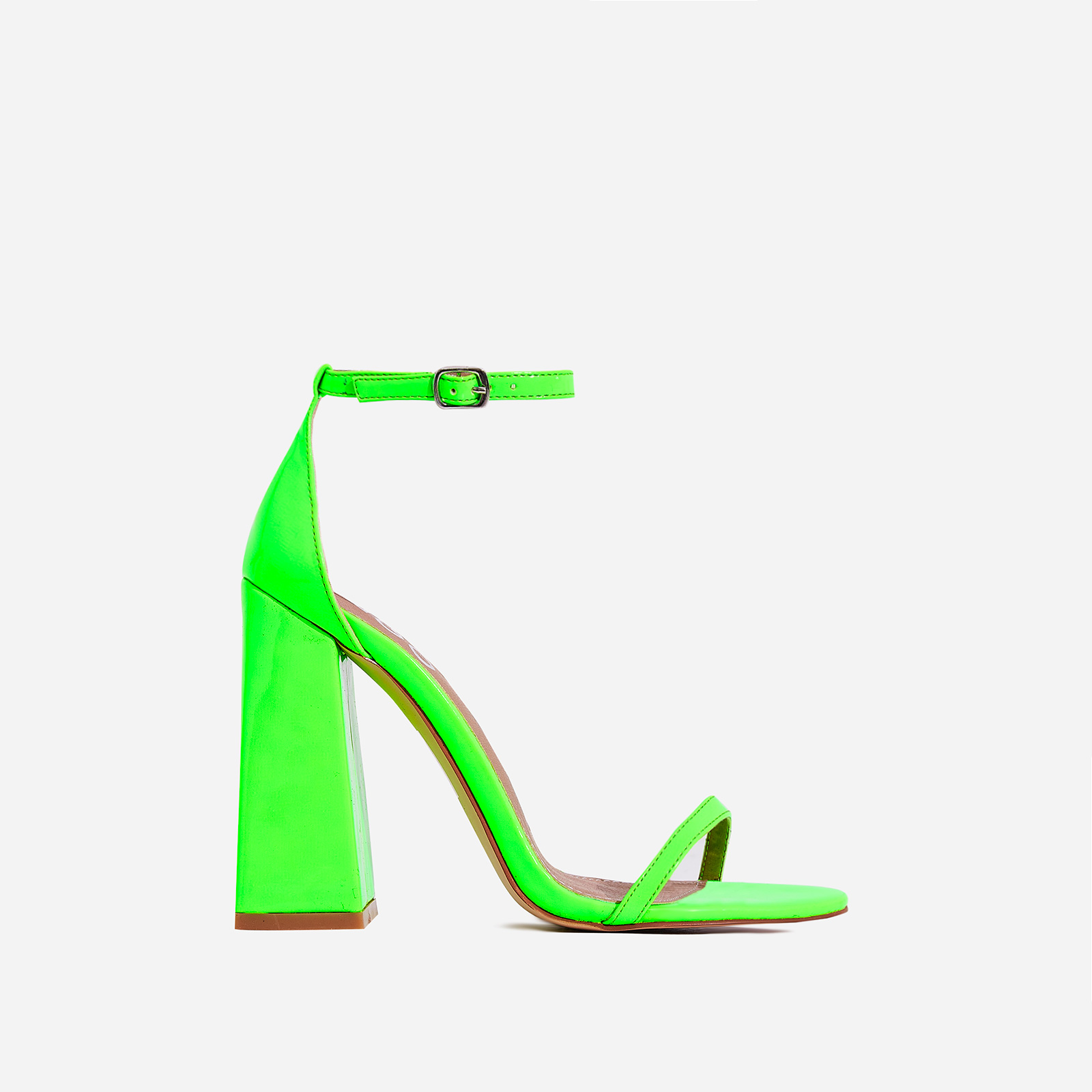 Atomic Square Block Heel  In Neon Green Patent