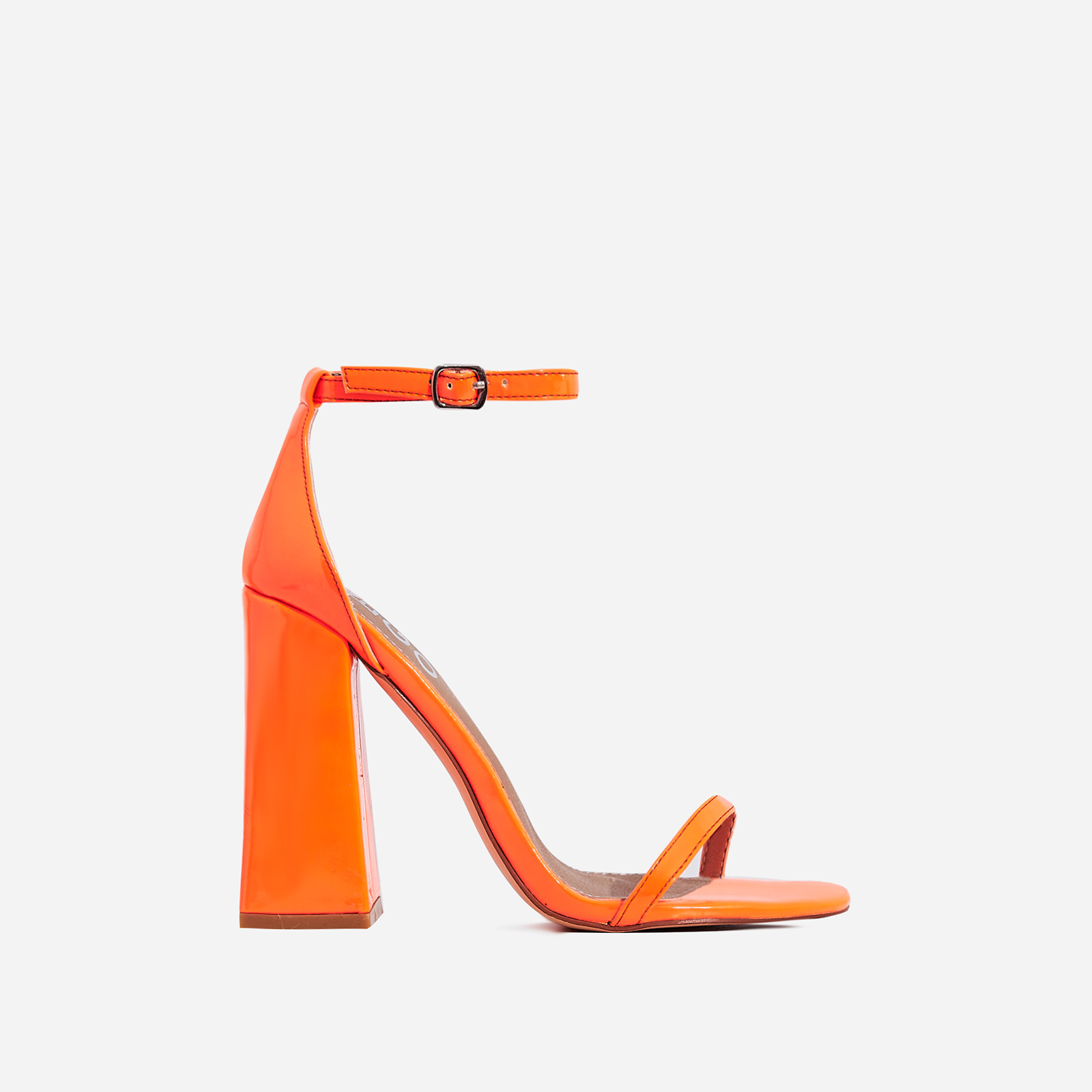 Atomic Square Block Heel  In Neon Orange Patent