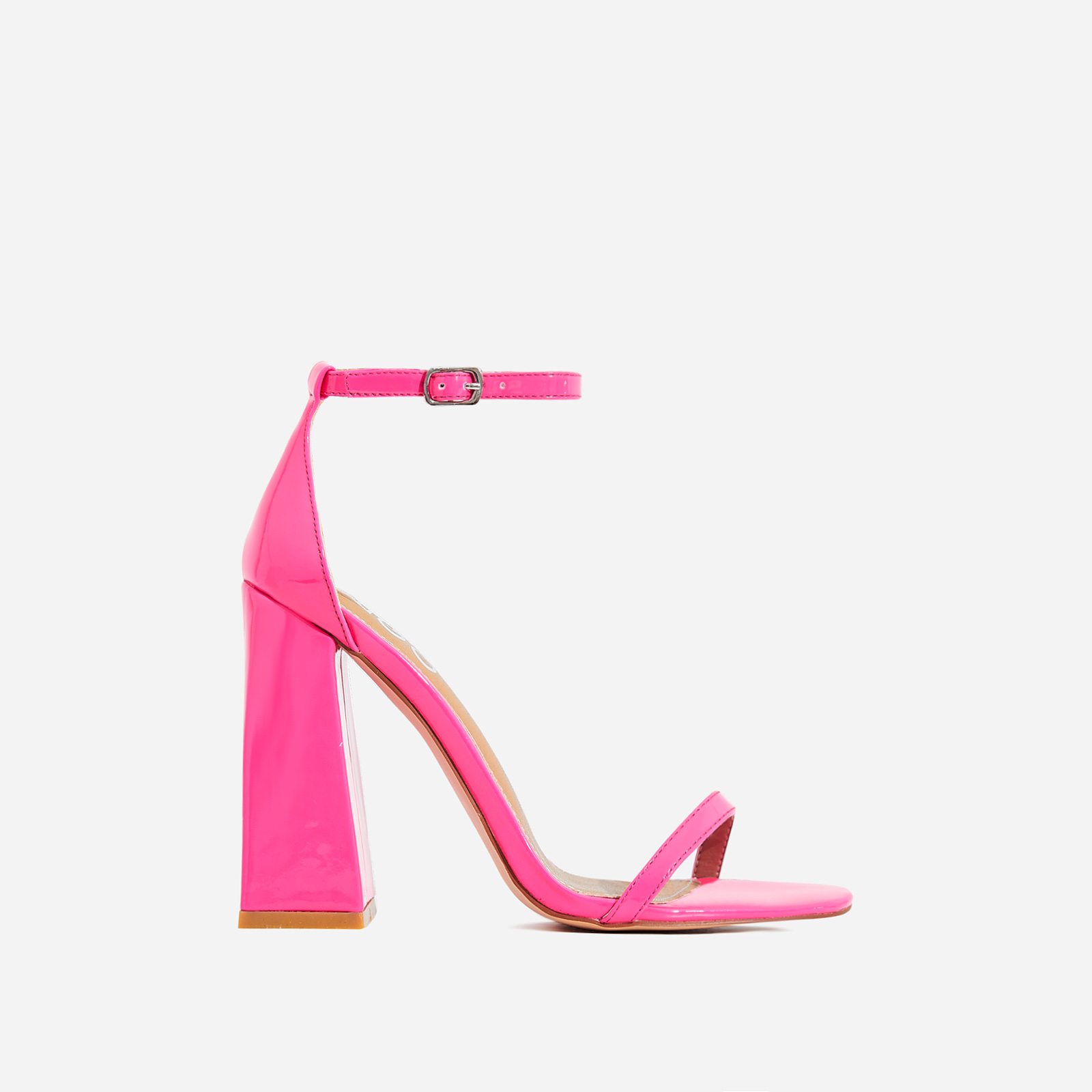 Atomic Square Block Heel In Neon Pink Patent