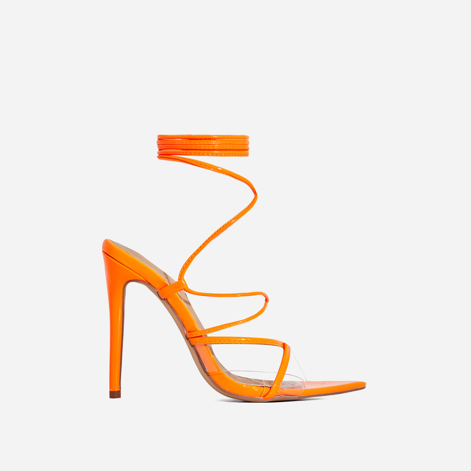 Ava Perspex Lace Up Heel In Neon Orange Patent