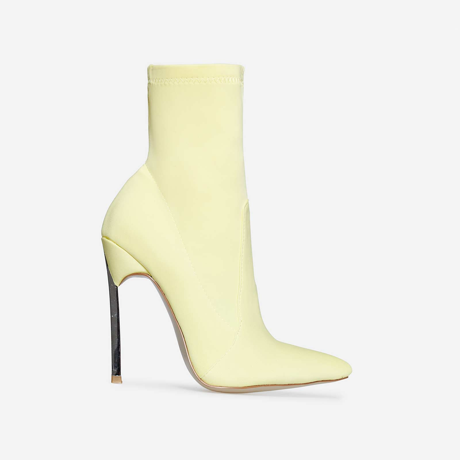 Ava Skinny Heel Pointed Toe Sock Boot In Lemon Yellow Lycra