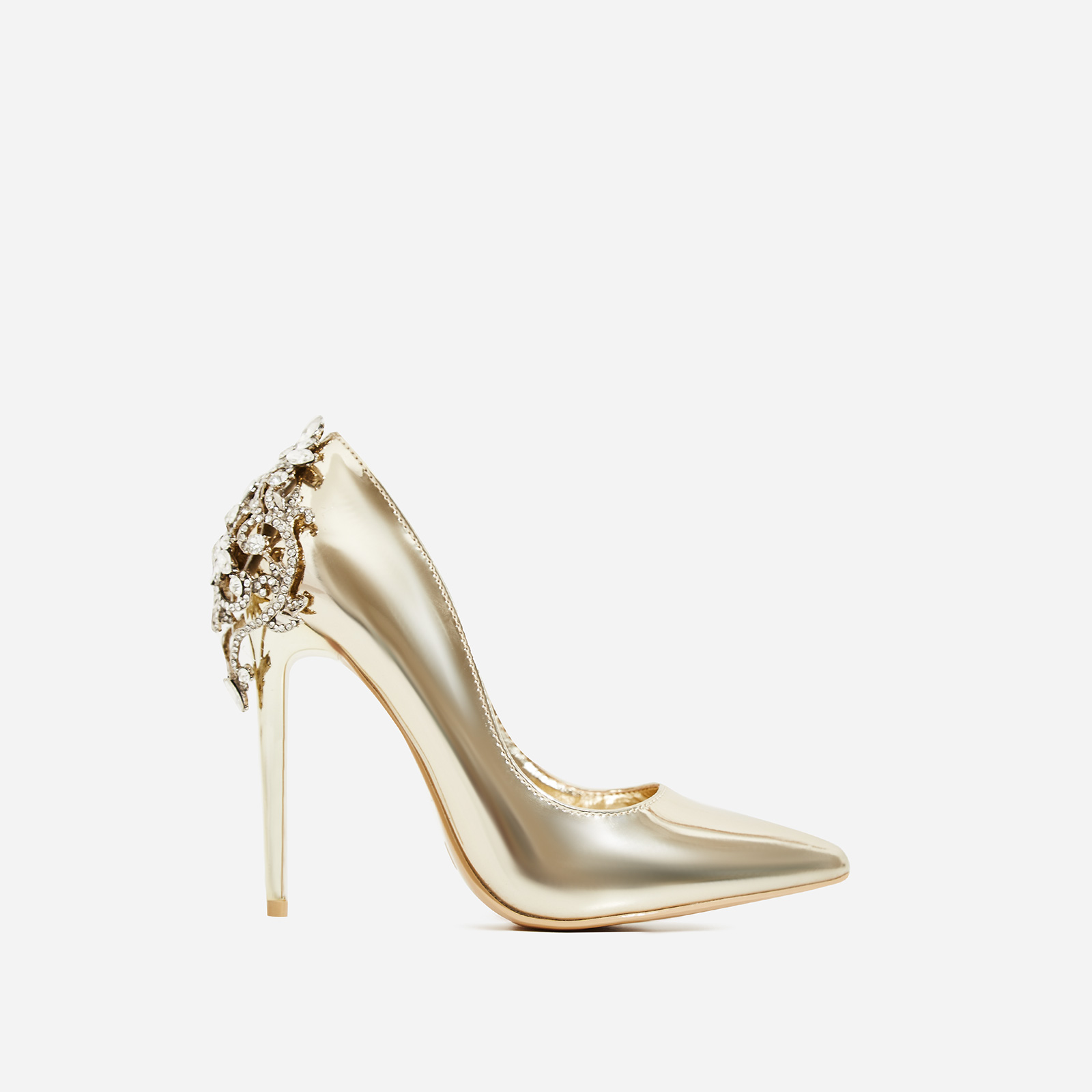 Aries Jewel Embellished Court Heel In Metallic Gold Patent