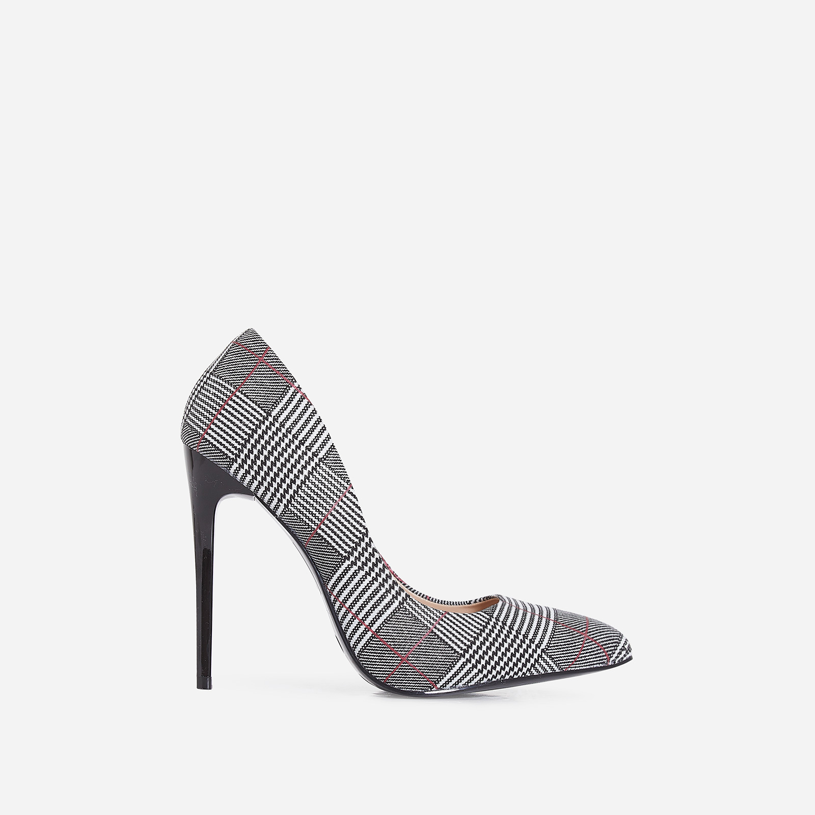 Gina Court Heel In Black Tartan Fabric