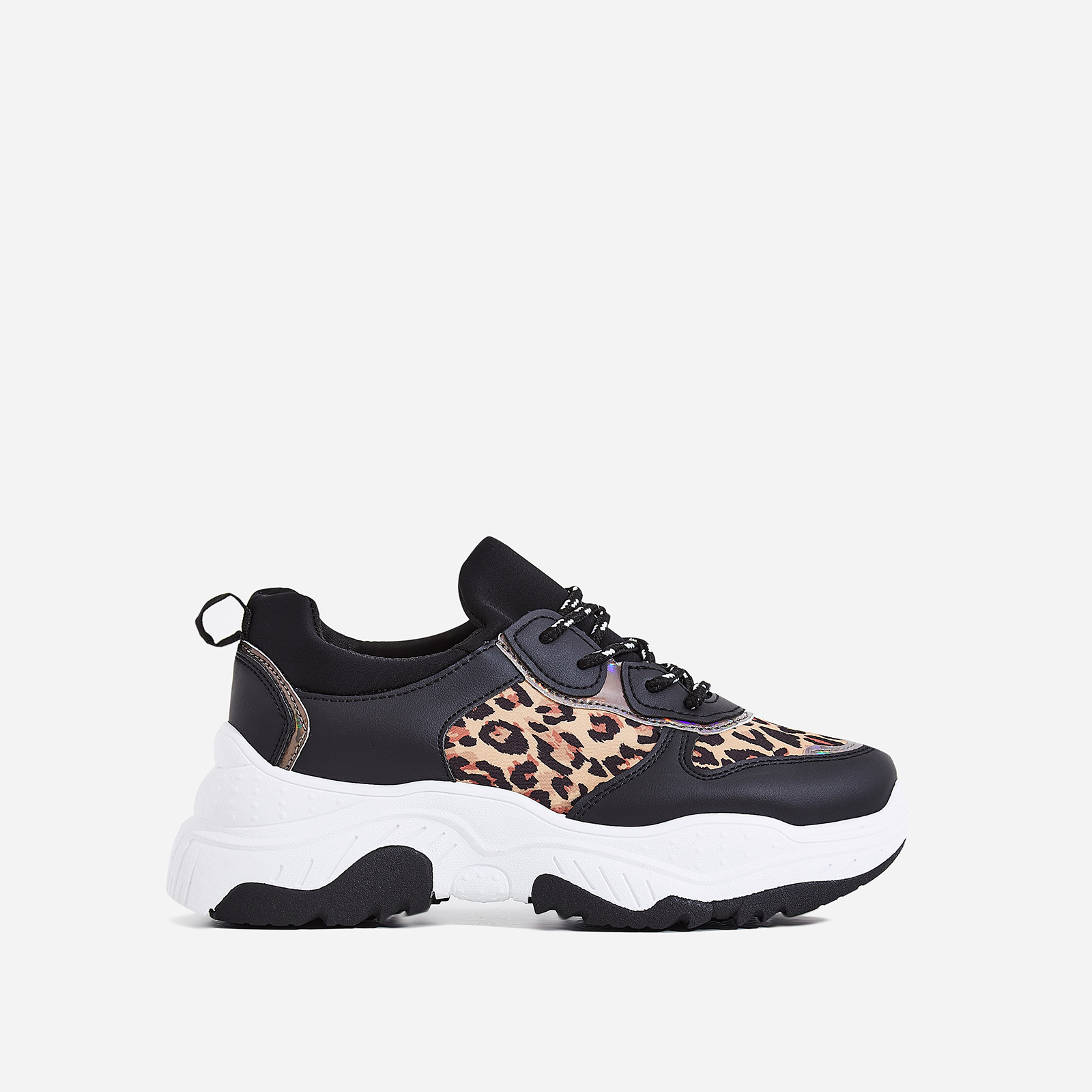 Alessio Chunky Sole Trainer In Black and Tan Leopard