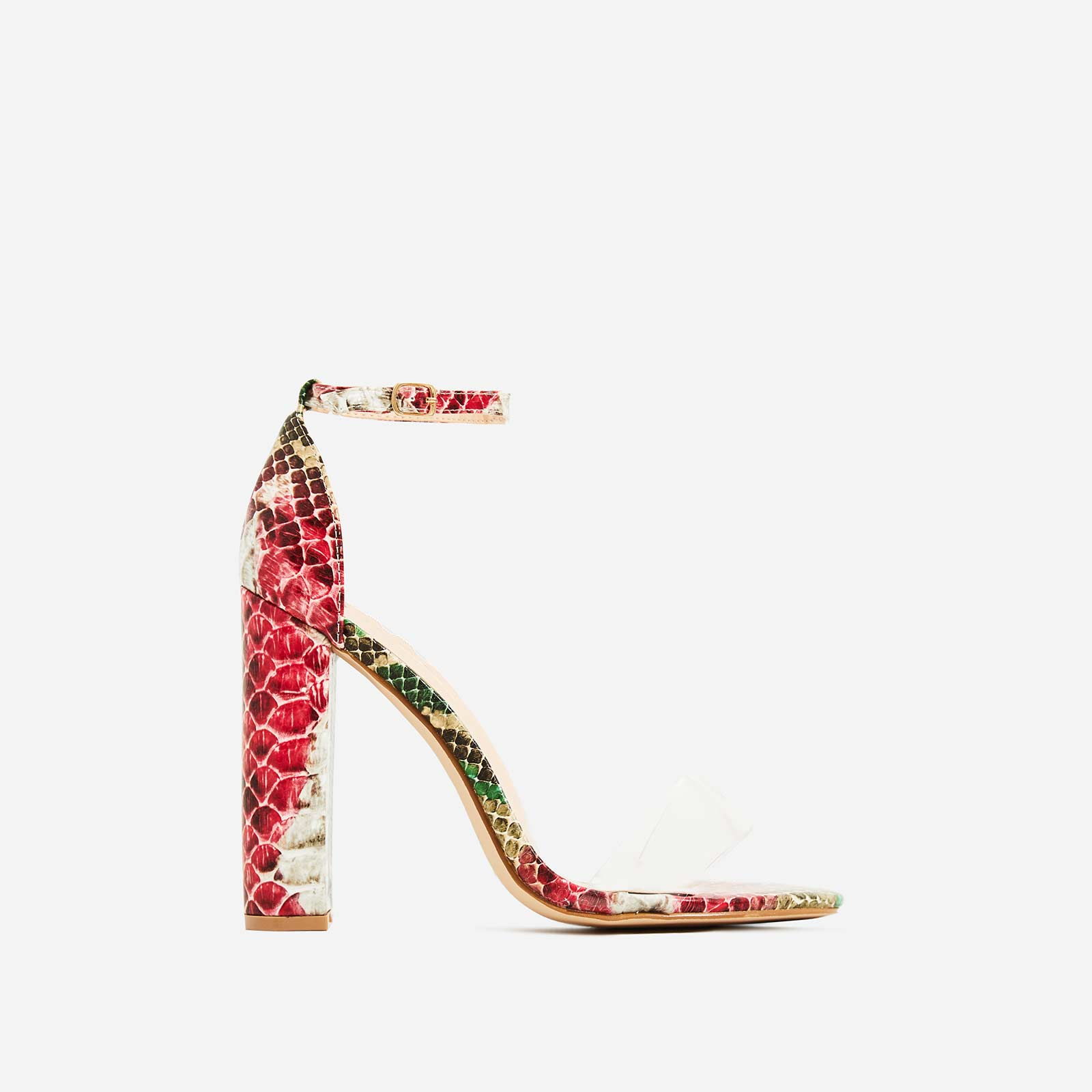 Carmela Block Heel Perspex Heel In Pink Snake Print Faux Leather