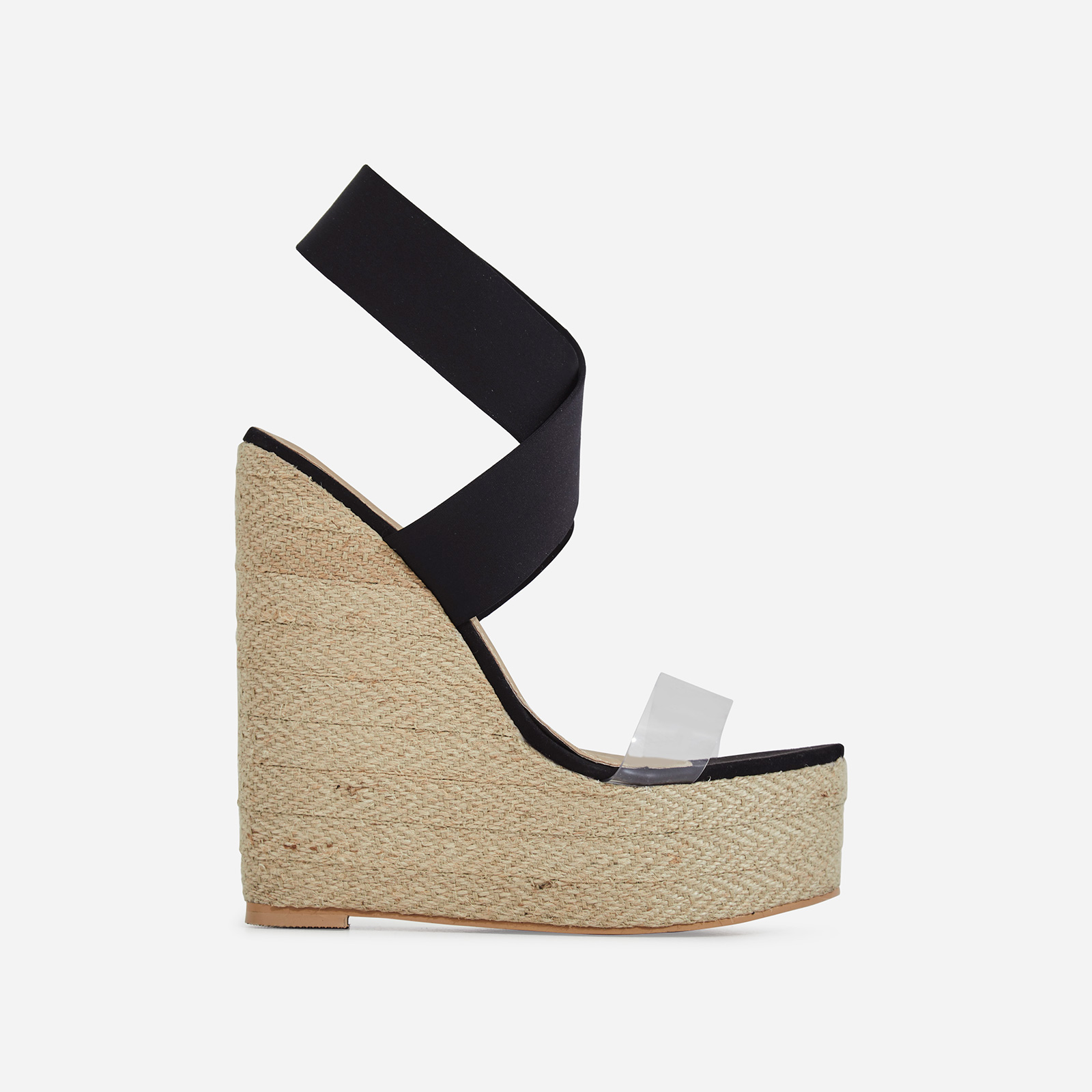 Bailey Perspex Platform Elasticated Espadrille Wedge Block Heel In Black Faux Suede