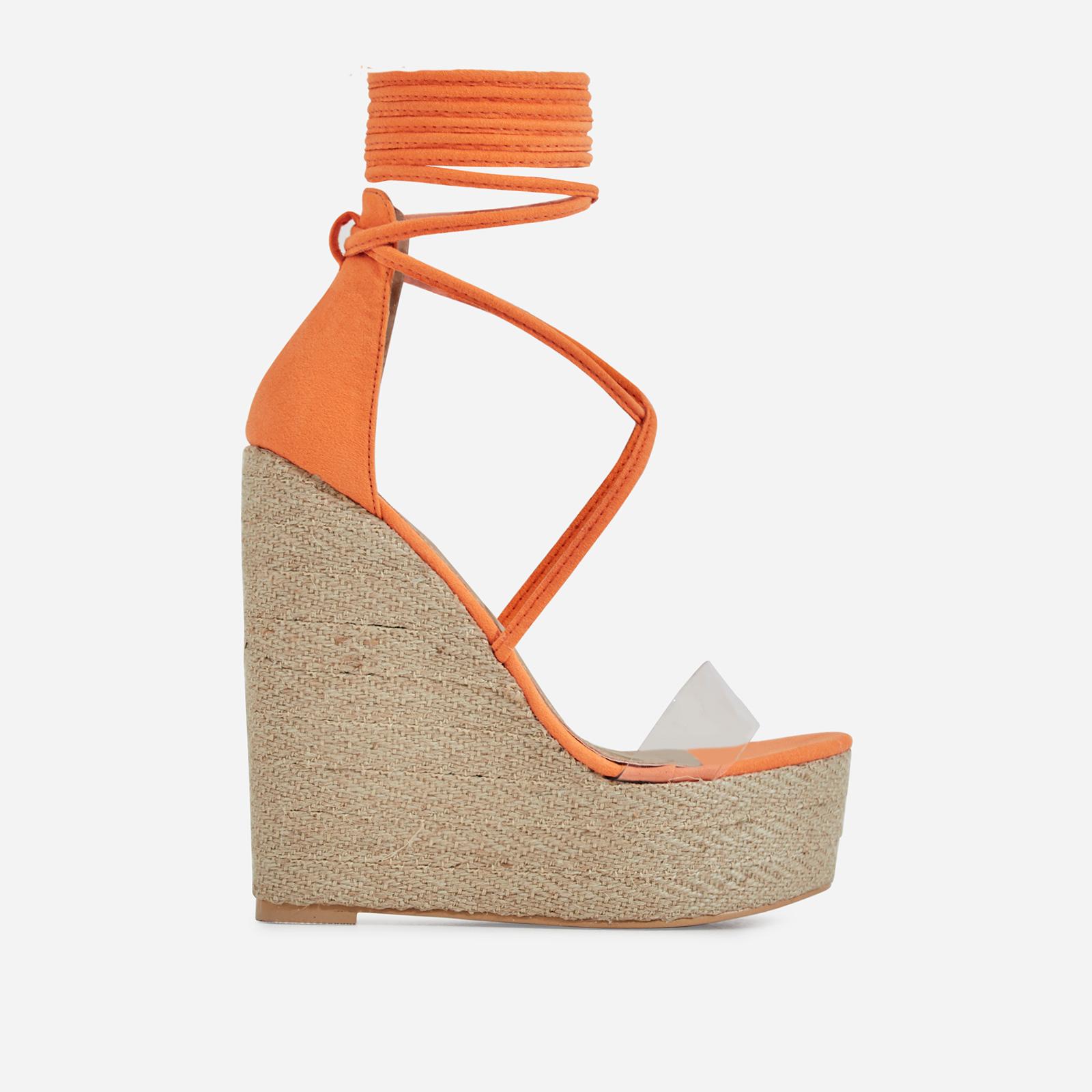 Aliki Perspex Platform Lace Up Espadrille Wedge Block Heel In Orange Faux Suede