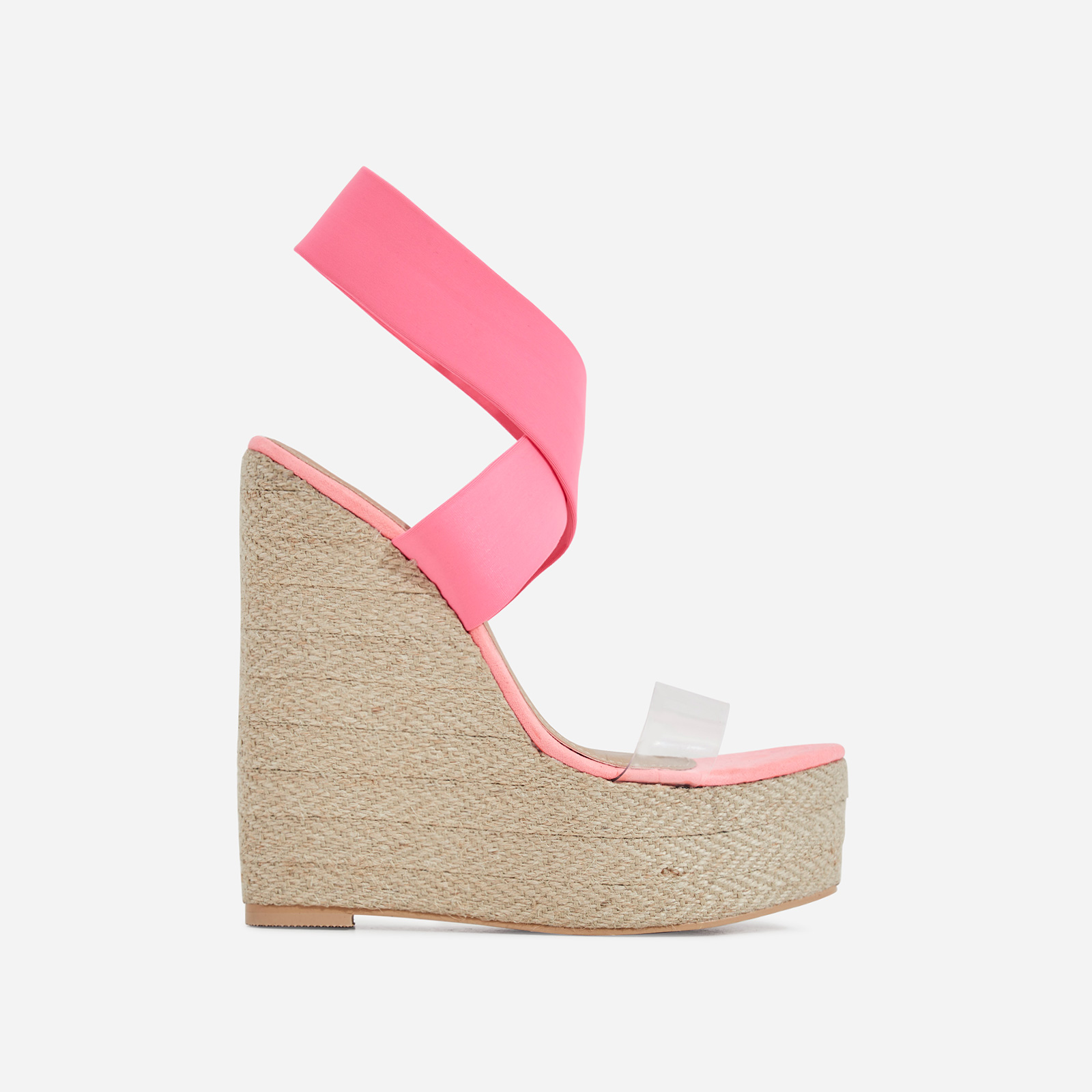 Bailey Perspex Platform Elasticated Espadrille Wedge Block Heel In Neon Pink Faux Suede