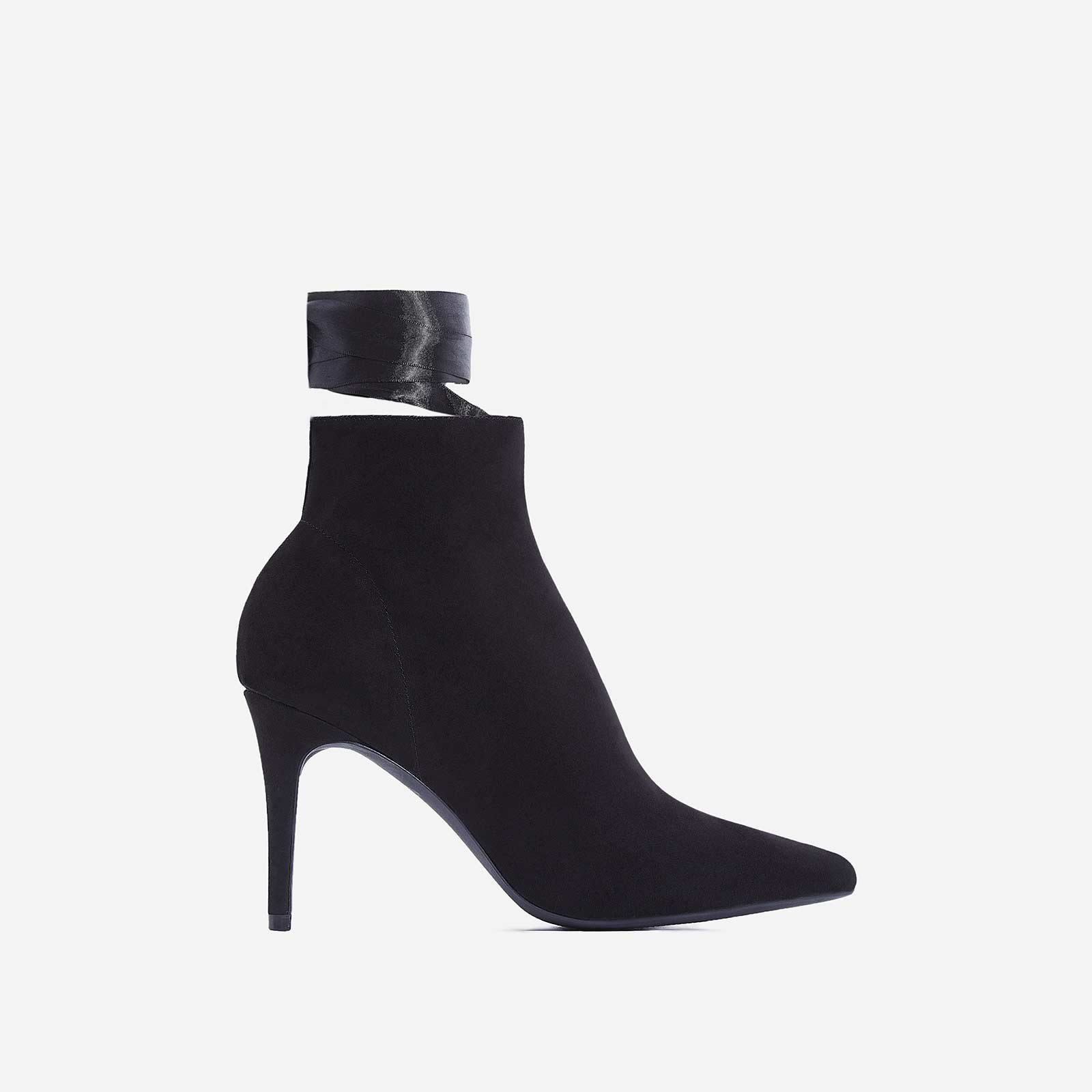 Becca Lace Up Ankle Boot In Black Faux Suede