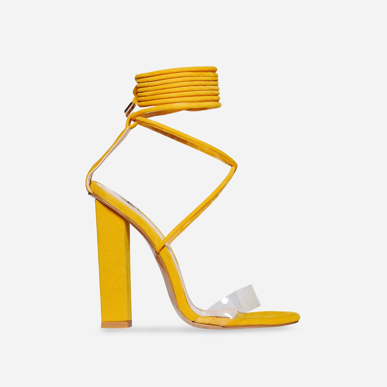 Bello Perspex Lace Up Block Heel In Yellow Faux Suede