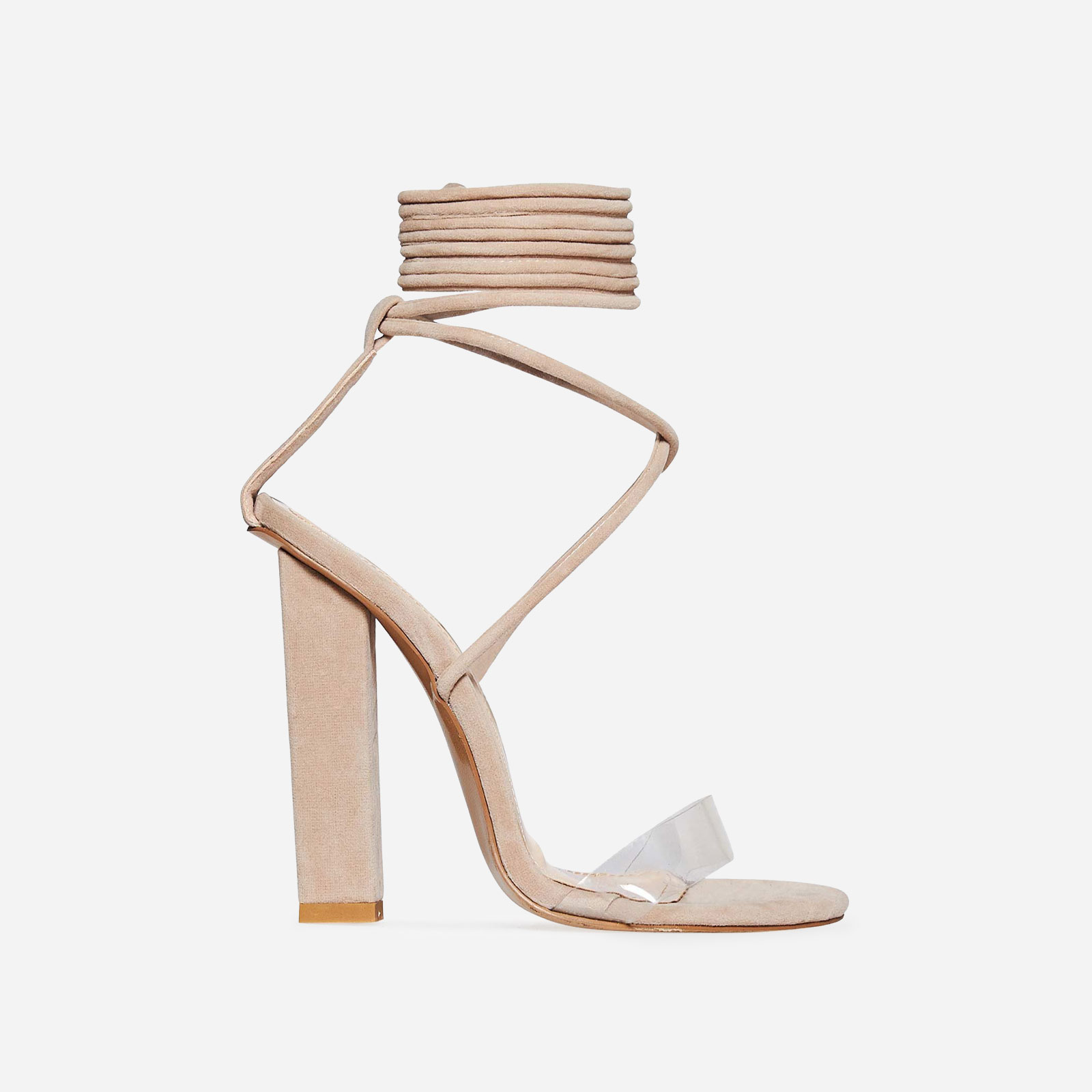 Bello Perspex Lace Up Block Heel In Nude Faux Suede