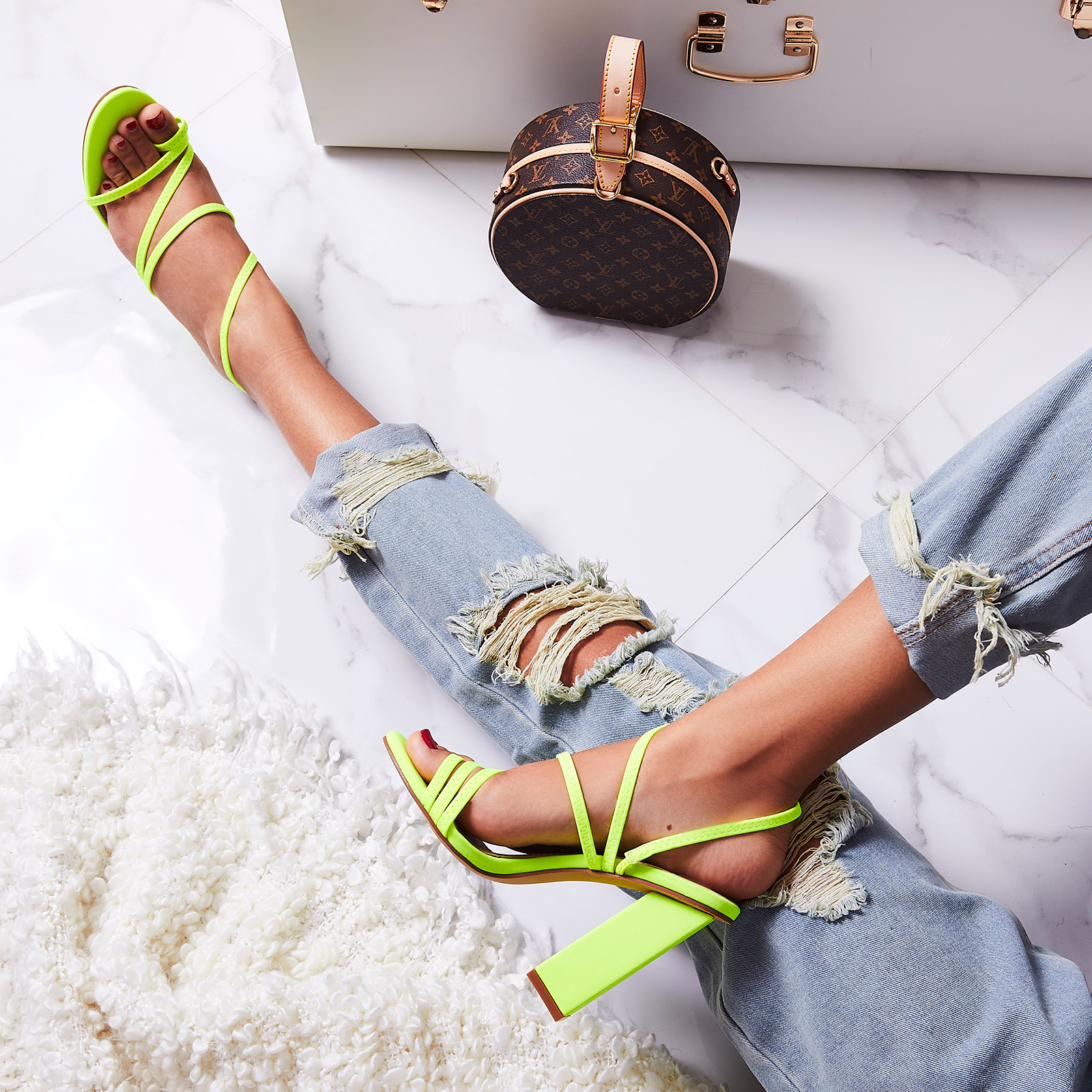 Bello-Ay Strappy Block Heel In Neon Green Lycra