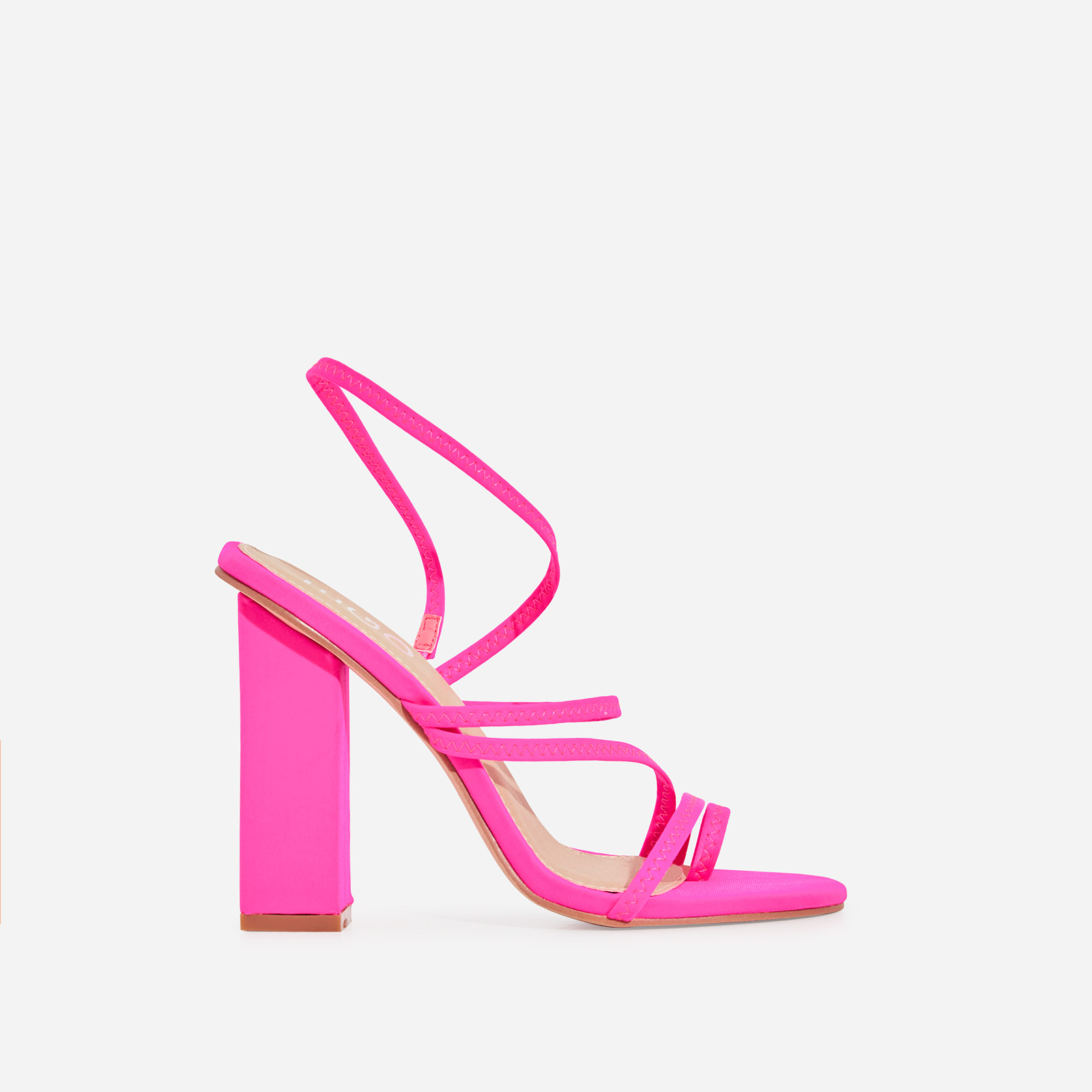 Bello-Ay Strappy Block Heel In Neon Pink Lycra
