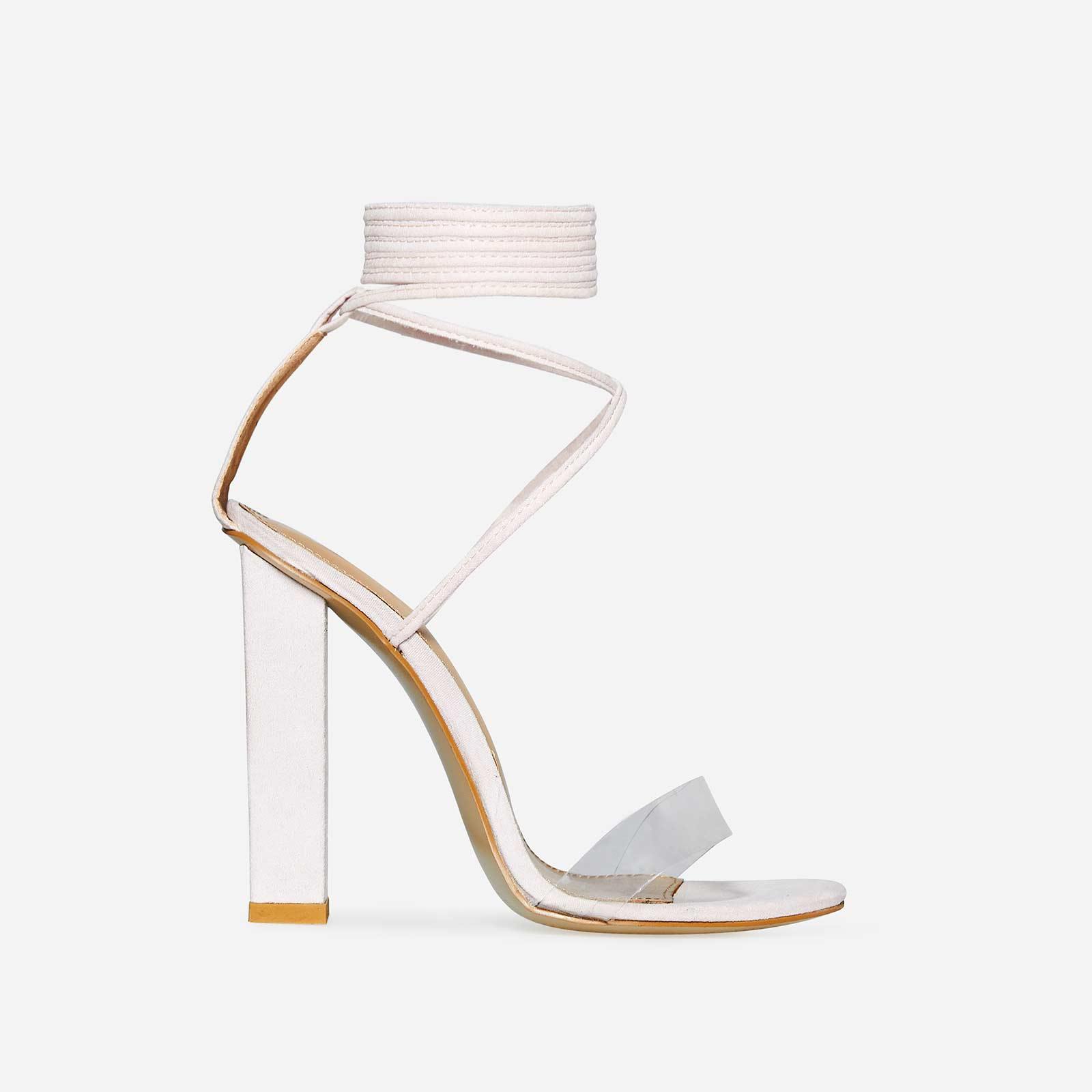 Bello Perspex Lace Up Block Heel In Pastel Pink Faux Suede
