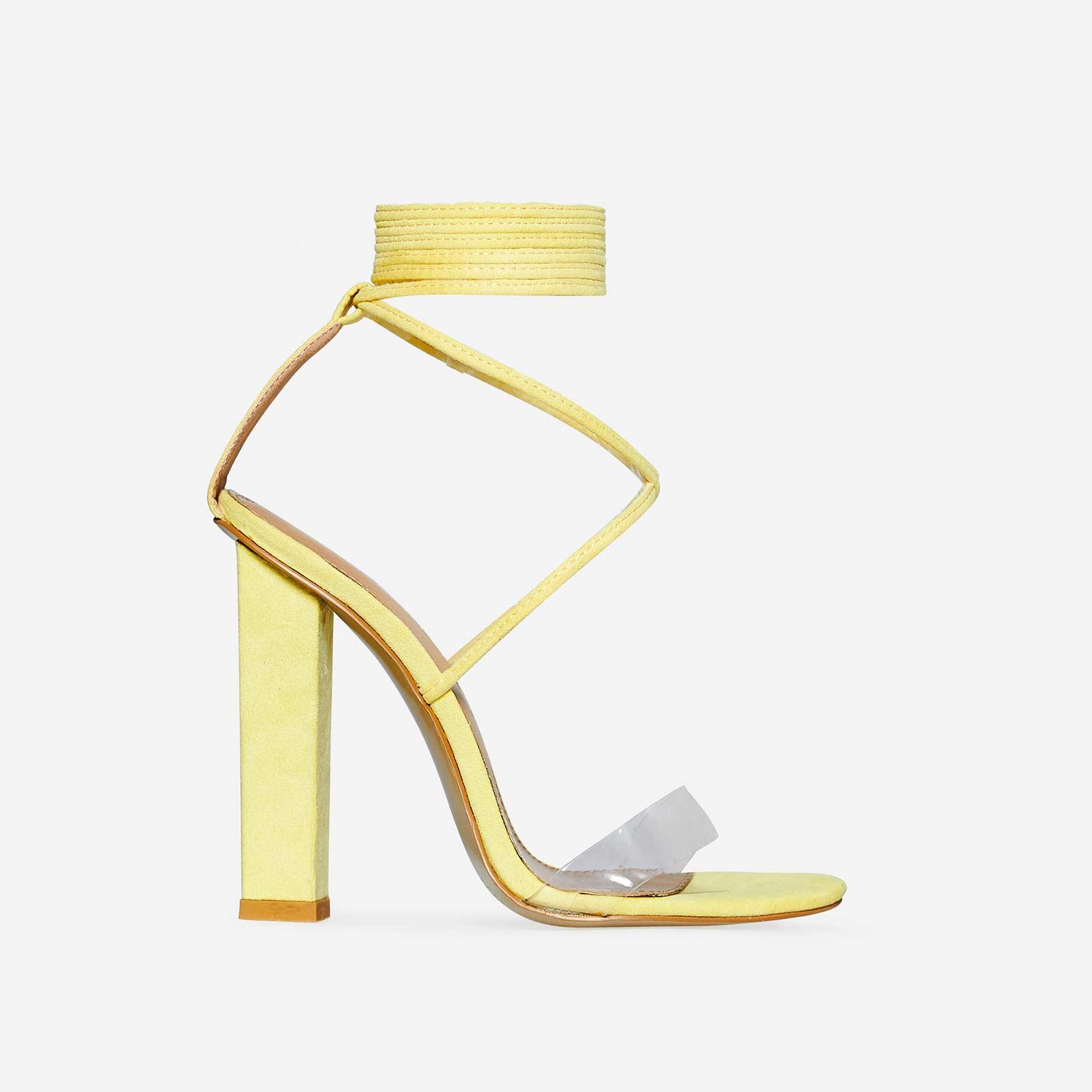 Bello Perspex Lace Up Block Heel In Lemon Yellow Faux Suede