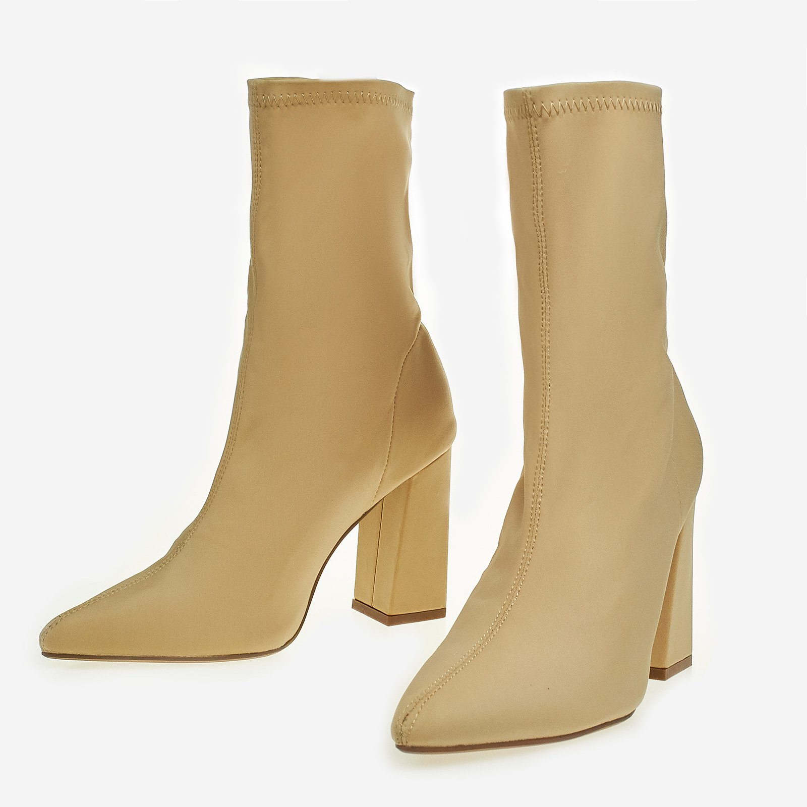 Carla Block Heel Ankle Sock Boot In Nude Lycra