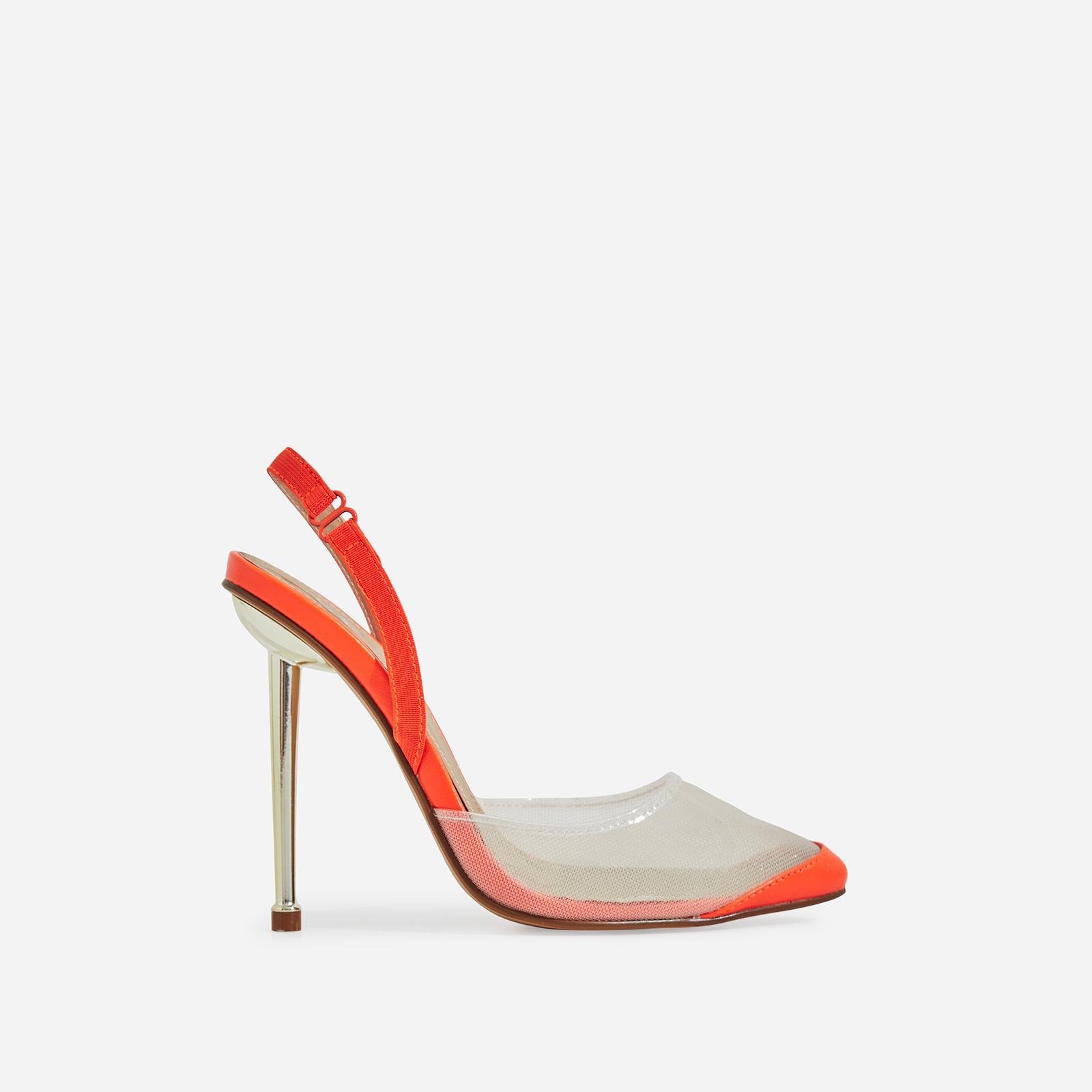 Bestie Mesh Detail Heel In Orange Faux Leather