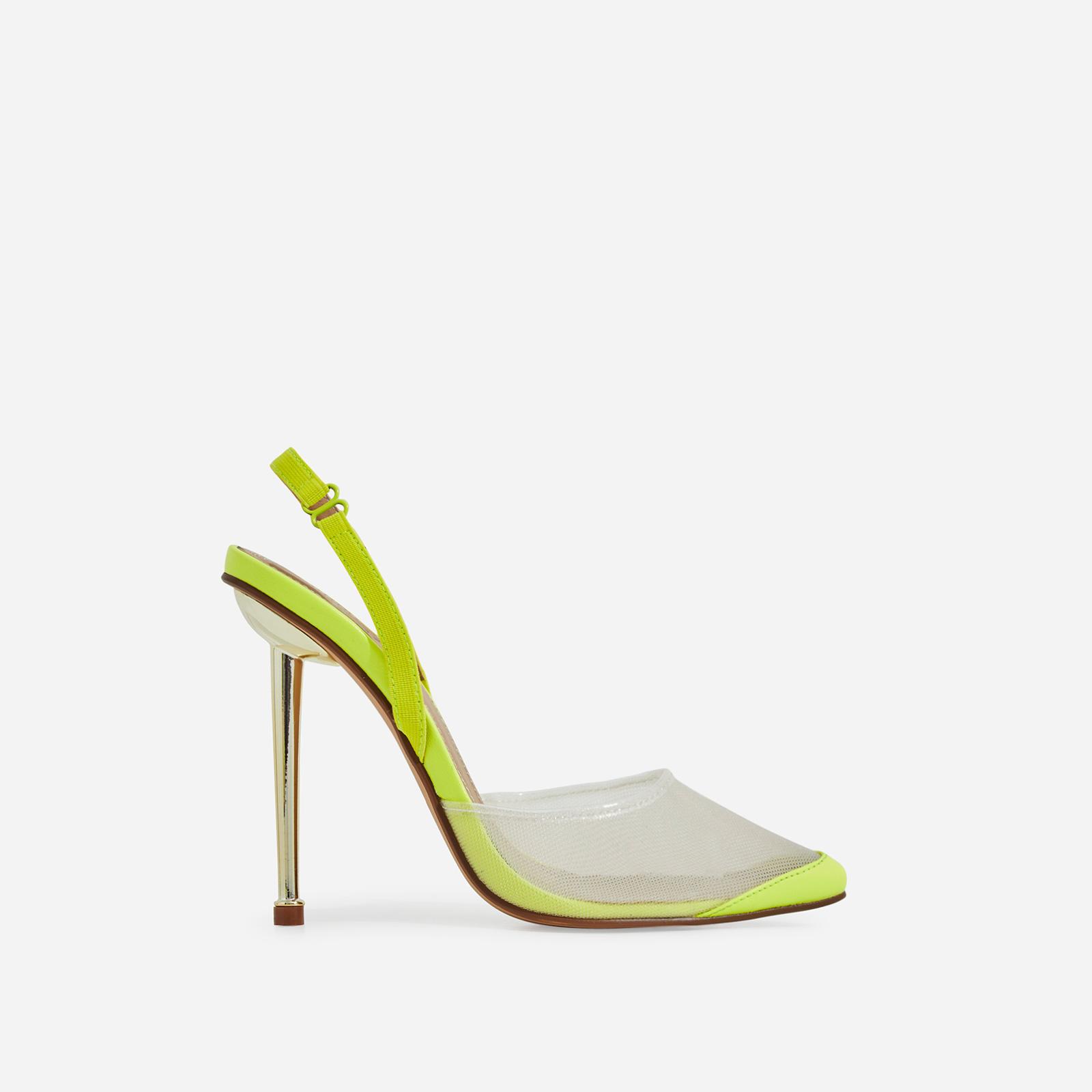 Bestie Mesh Detail Heel In Neon Yellow Faux Leather