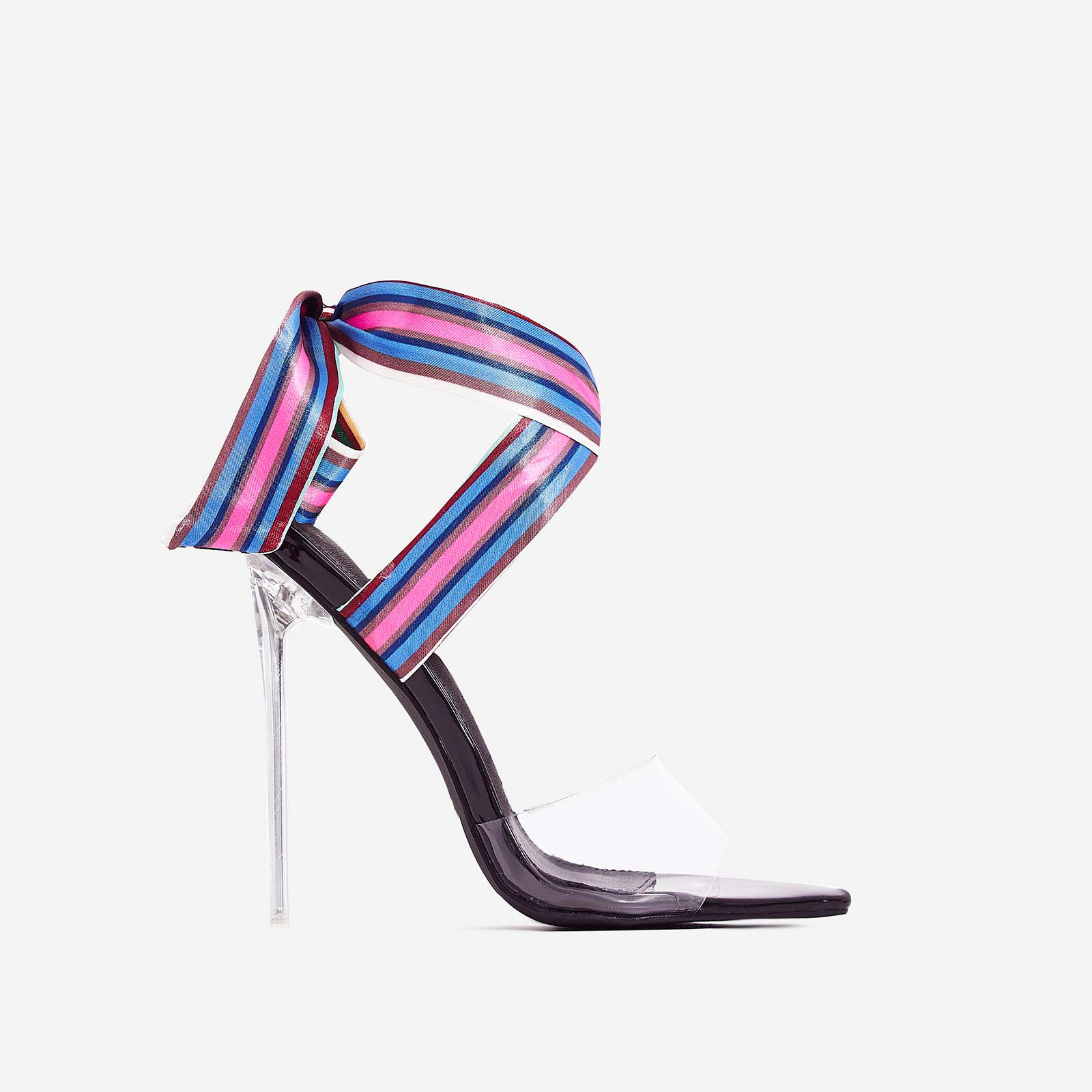 Bibi Striped Print Ribbon Lace Up Perspex Heel In Black Patent