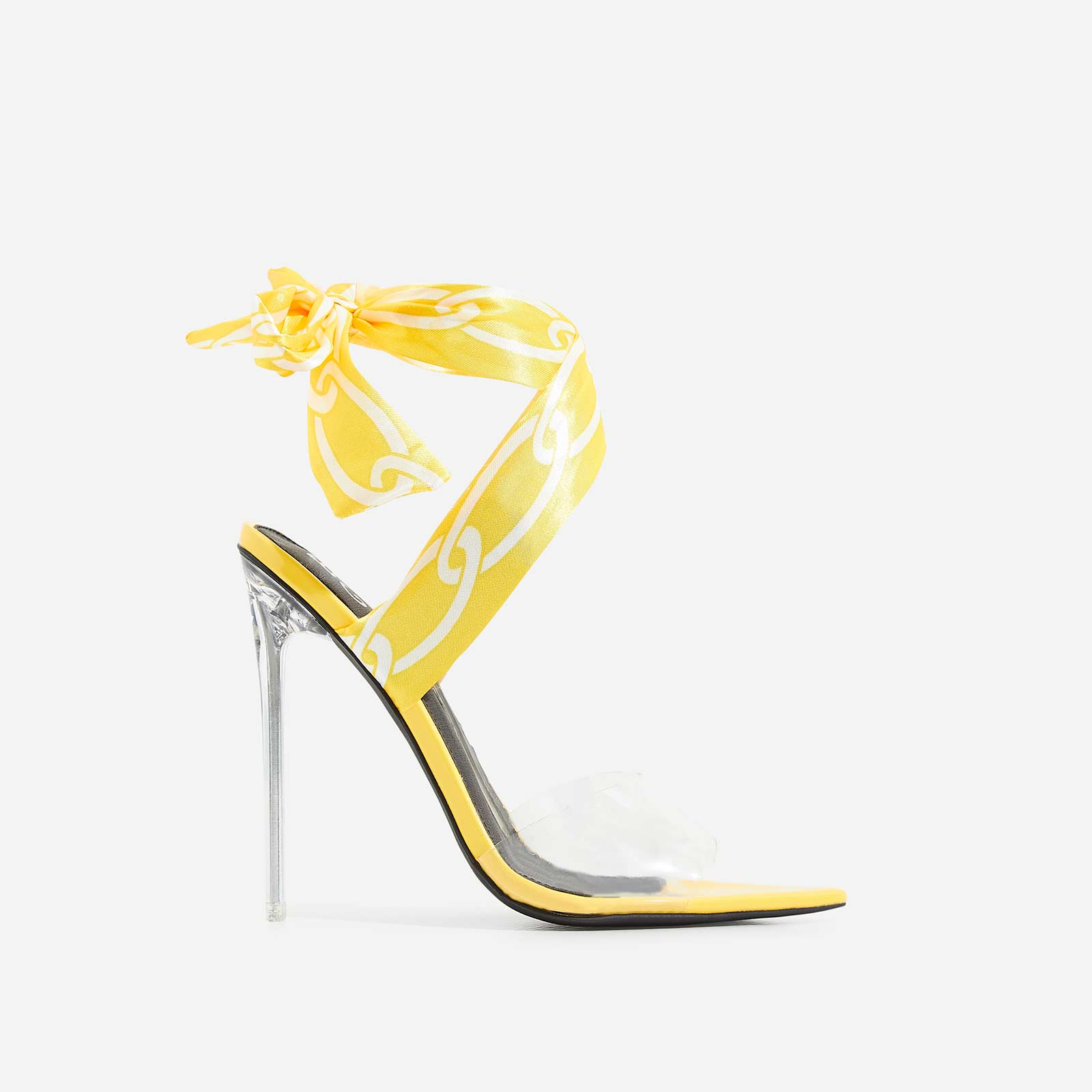 Bibi Printed Ribbon Lace Up Perspex Heel In Yellow Faux Suede