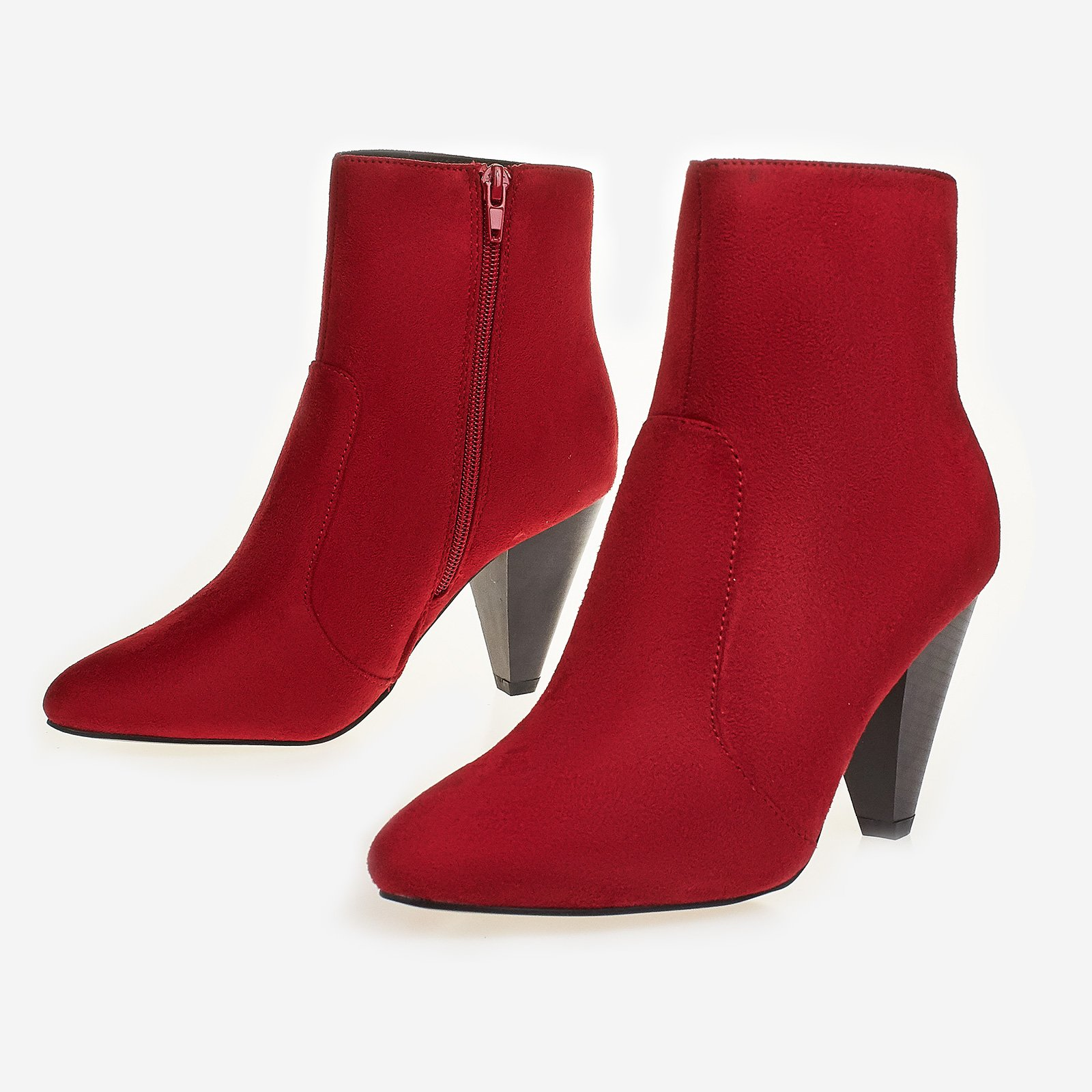 Bethany Pointed Heel Ankle Boot In Red Faux Suede