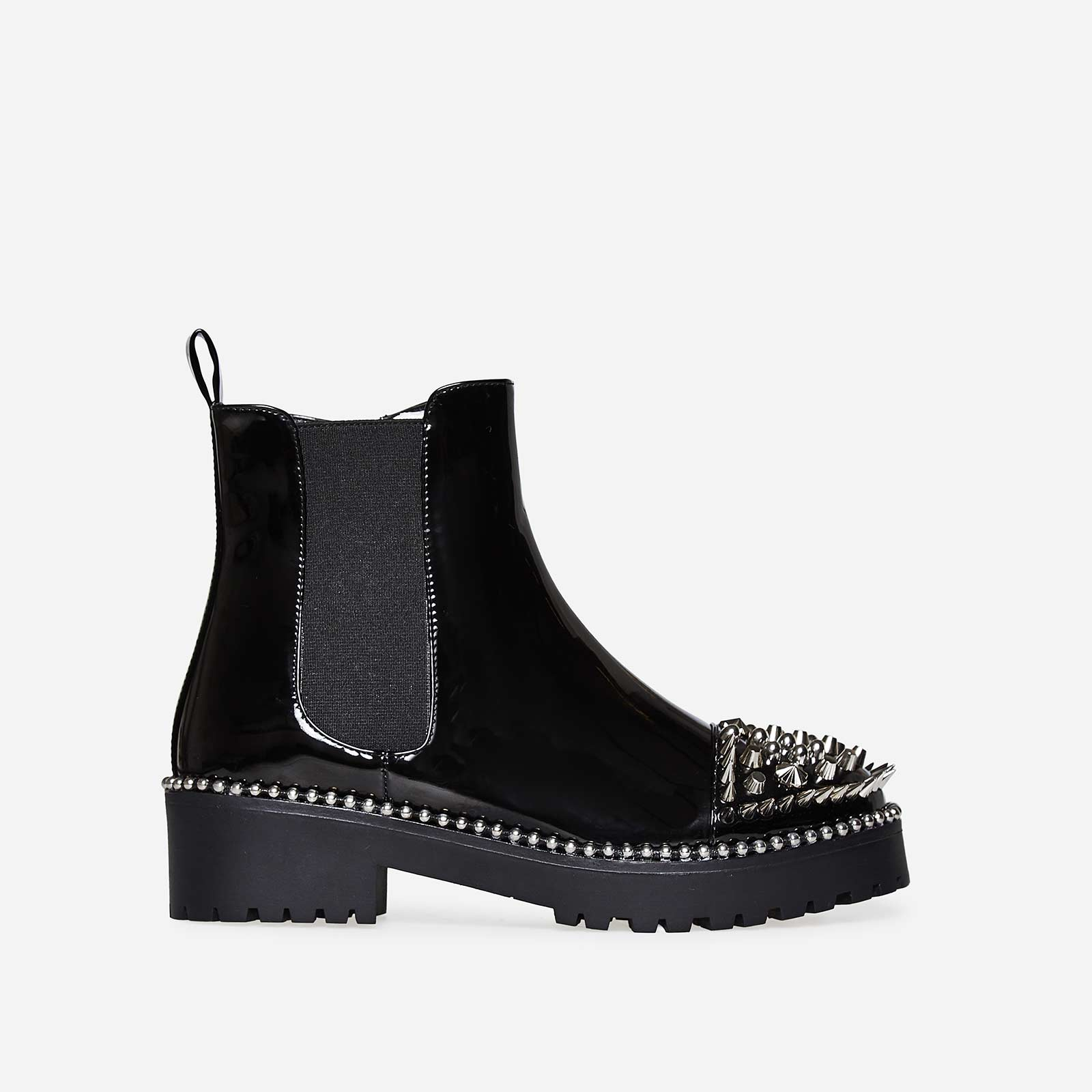 Blade Studded Detail Biker Boot In Black Patent