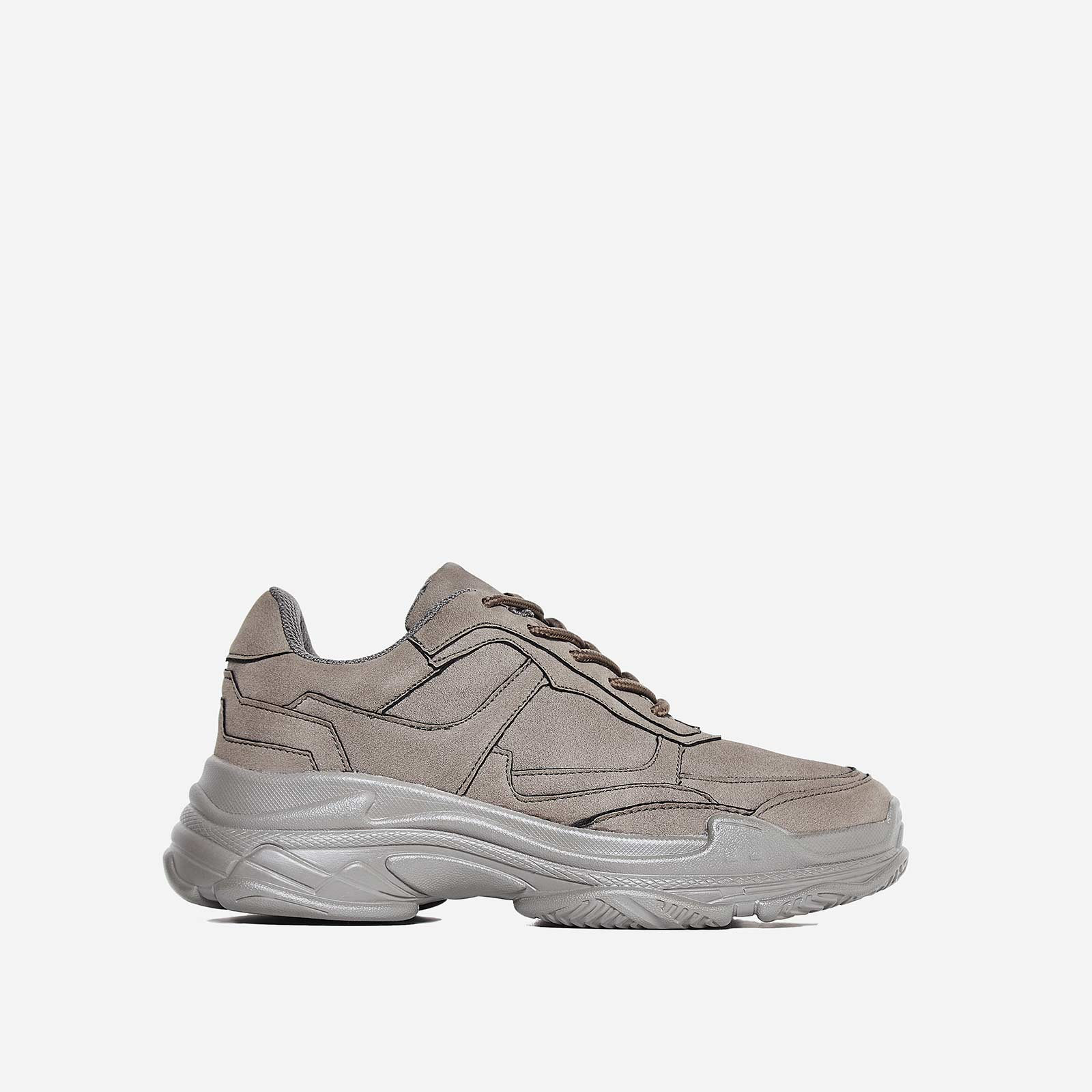 Blend Chunky Trainer In Grey Faux Suede