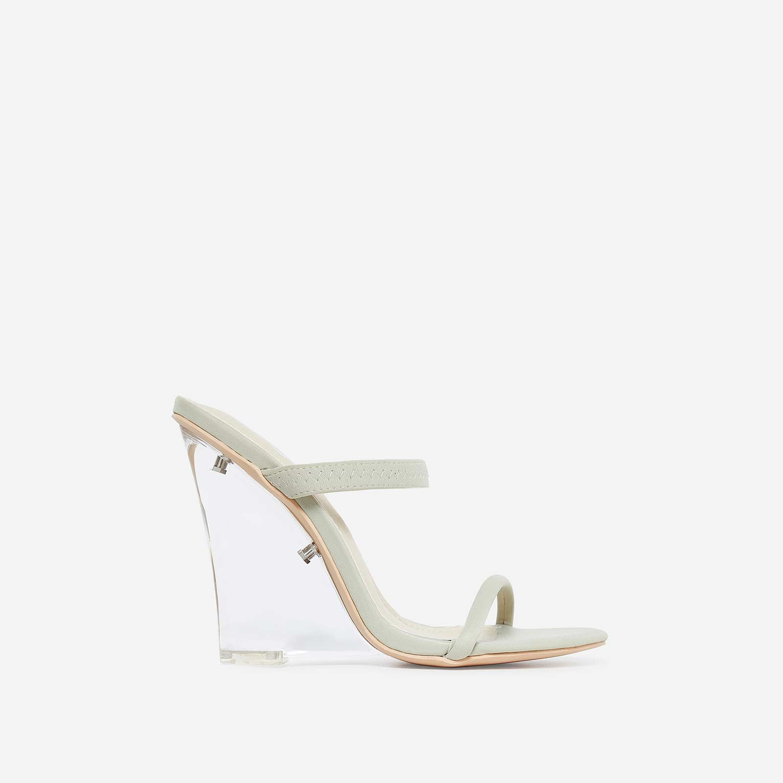 Bliss Perspex Wedge Mule In Nude Lycra