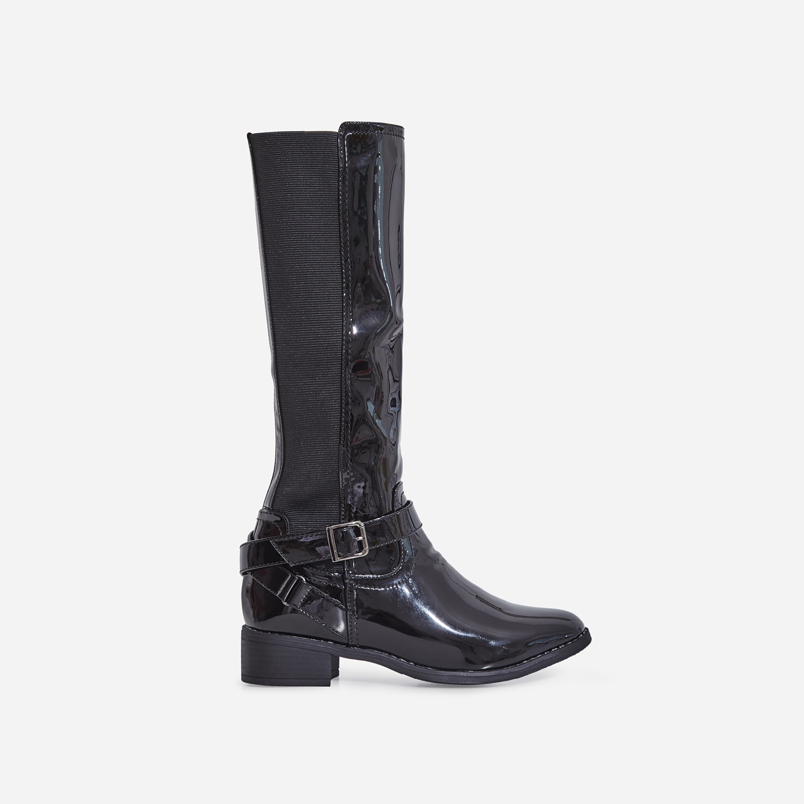 Rosie Buckle Detail Ankle Boot In Black Patent