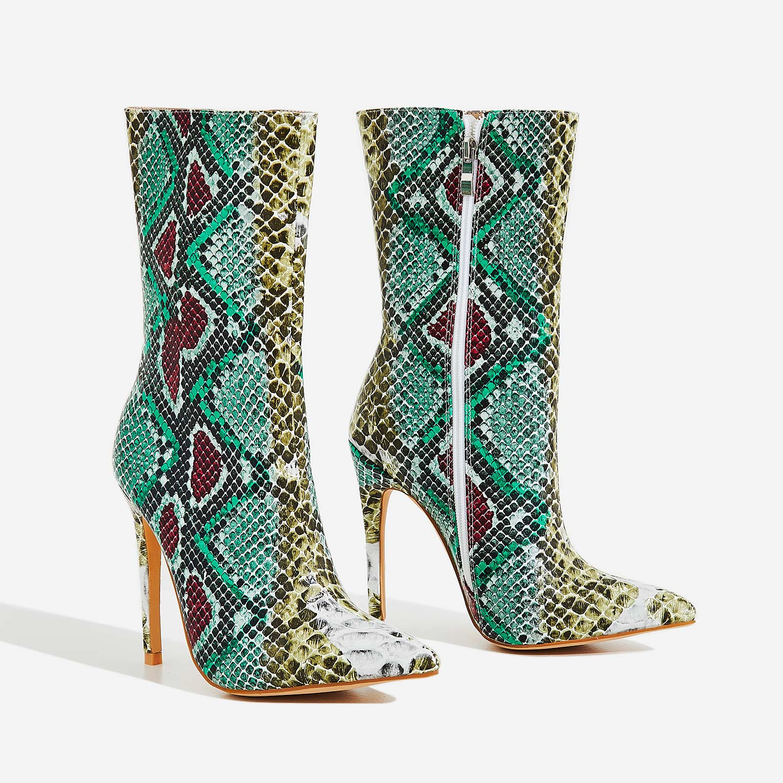 Boa Ankle Sock Boot In Multi Snake Print Faux Leather
