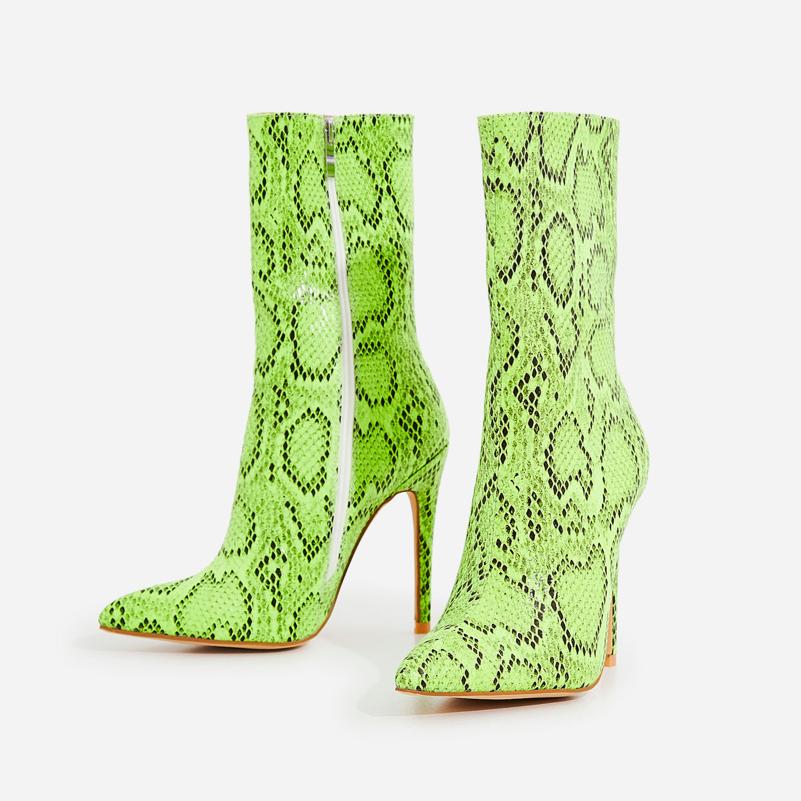Boa Ankle Sock Boot In Neon Green Snake Print Faux Leather