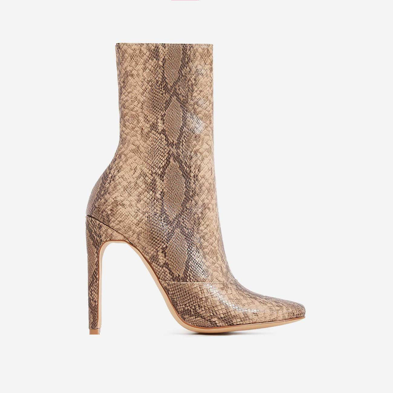 Boomslang Flat Heel Ankle Boot In Nude Snake Print Faux Leather