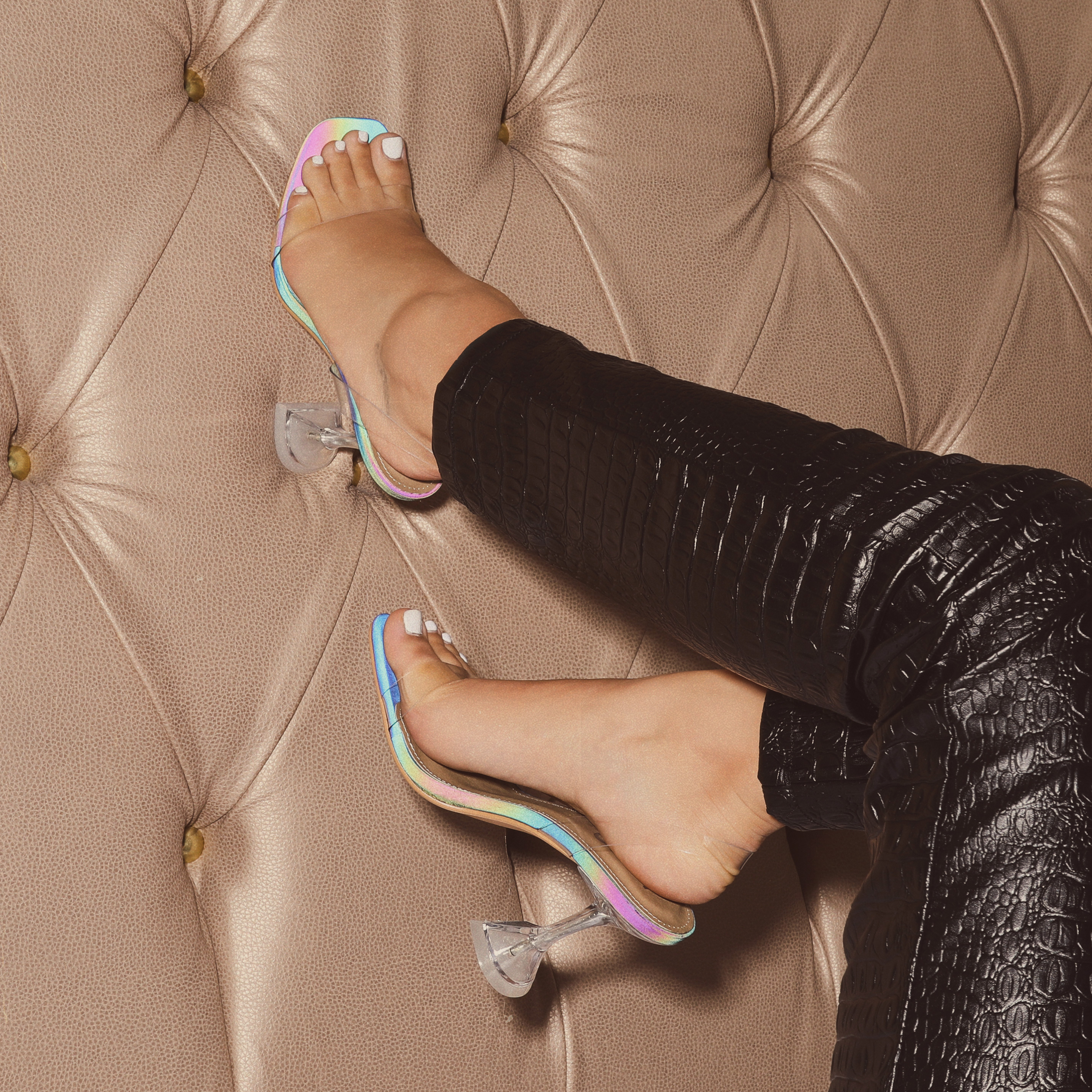 Flavia Square Toe Sling Back Pyramid Perspex Clear Heel Mule In Rainbow Iridescent Print Faux Leather